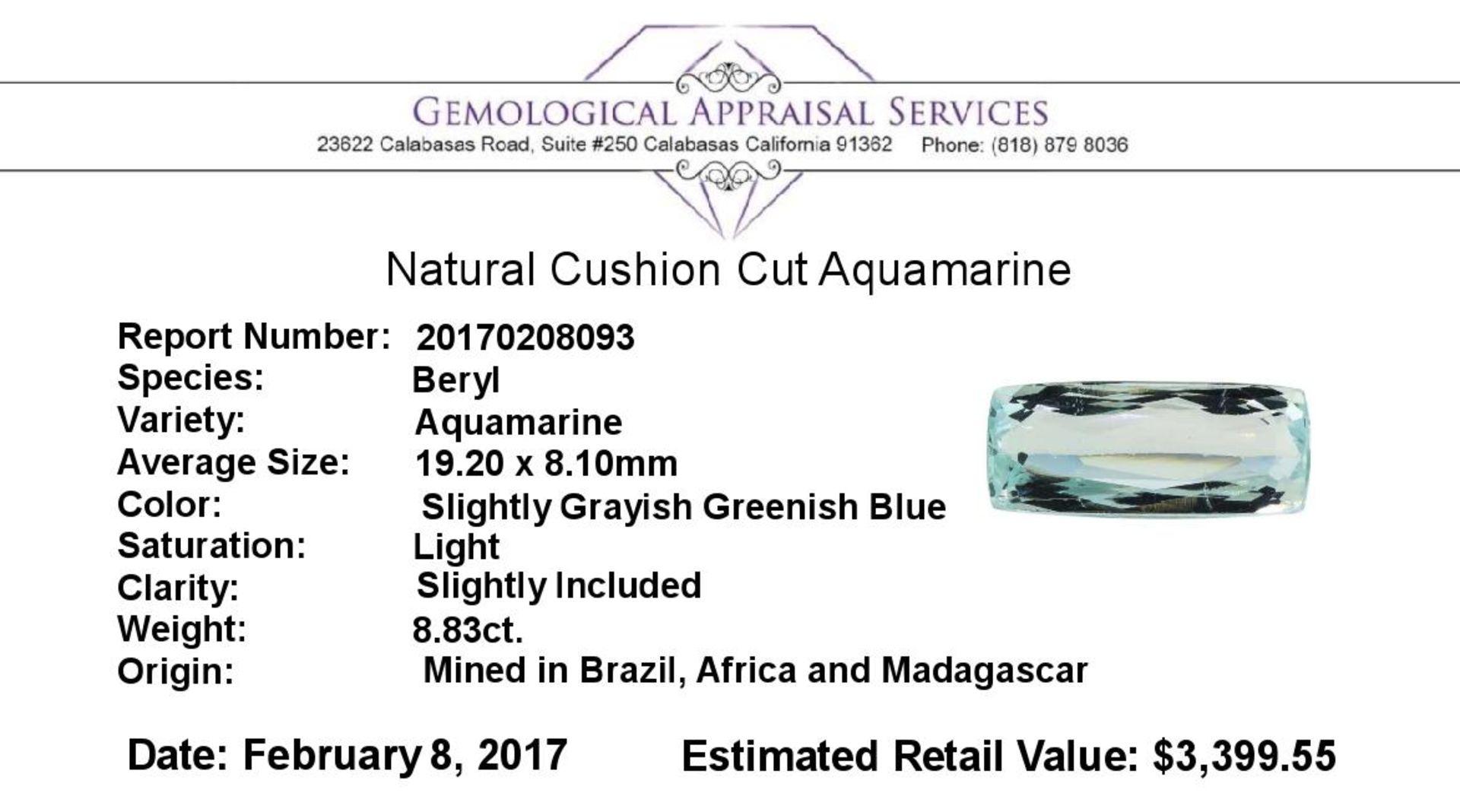 8.83 ct.Natural Cushion Cut Aquamarine - Image 2 of 2