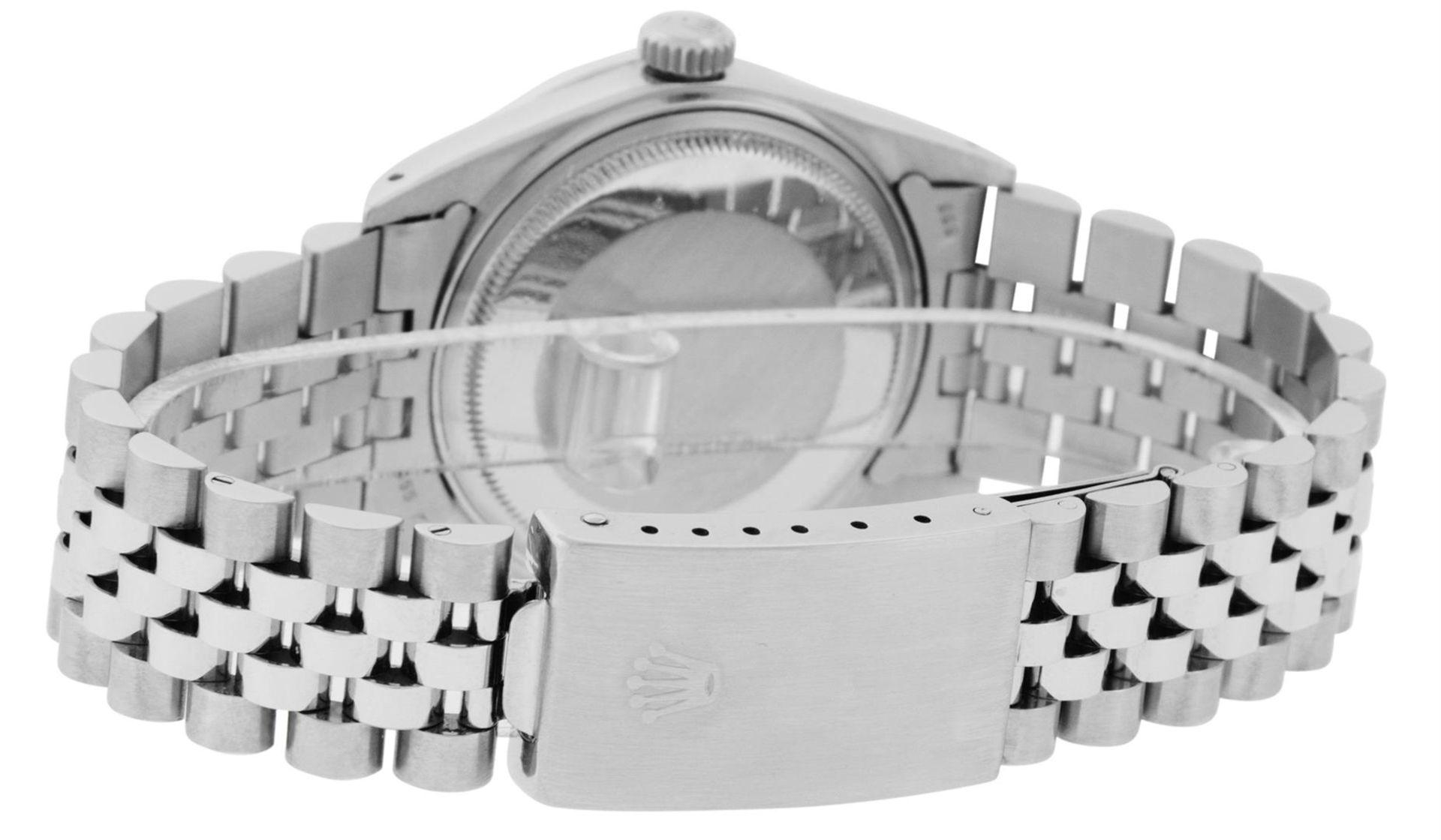Rolex Mens Stainless Steel Black Diamond Lugs & Sapphire Datejust Wristwatch Oys - Image 5 of 9