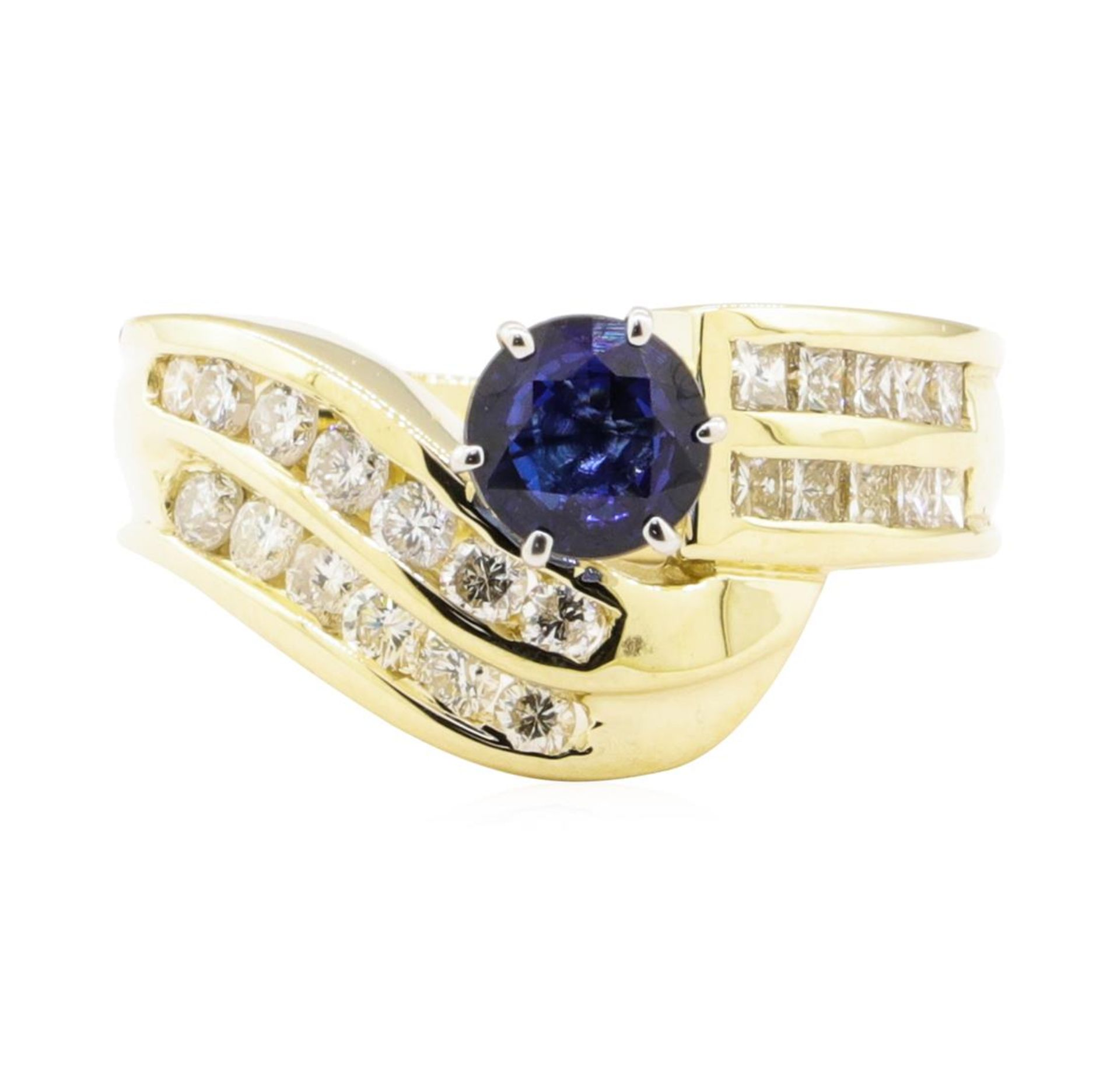 1.78 ctw Blue Sapphire And Diamond Ring - 14KT Yellow Gold - Image 2 of 5