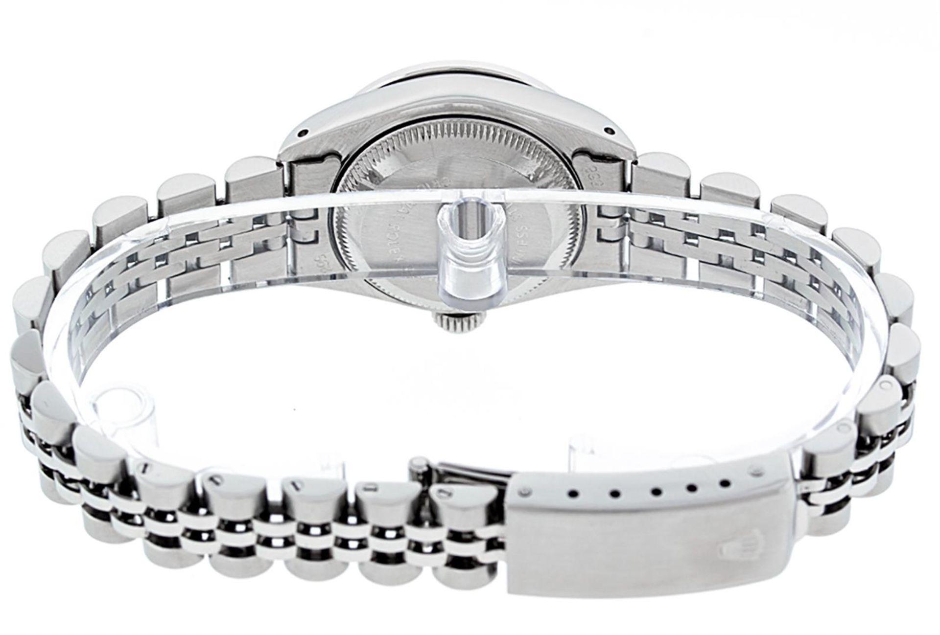 Rolex Ladies Stainless Steel 26MM Purple String Diamond Lugs Datejust Wristwatch - Image 5 of 9