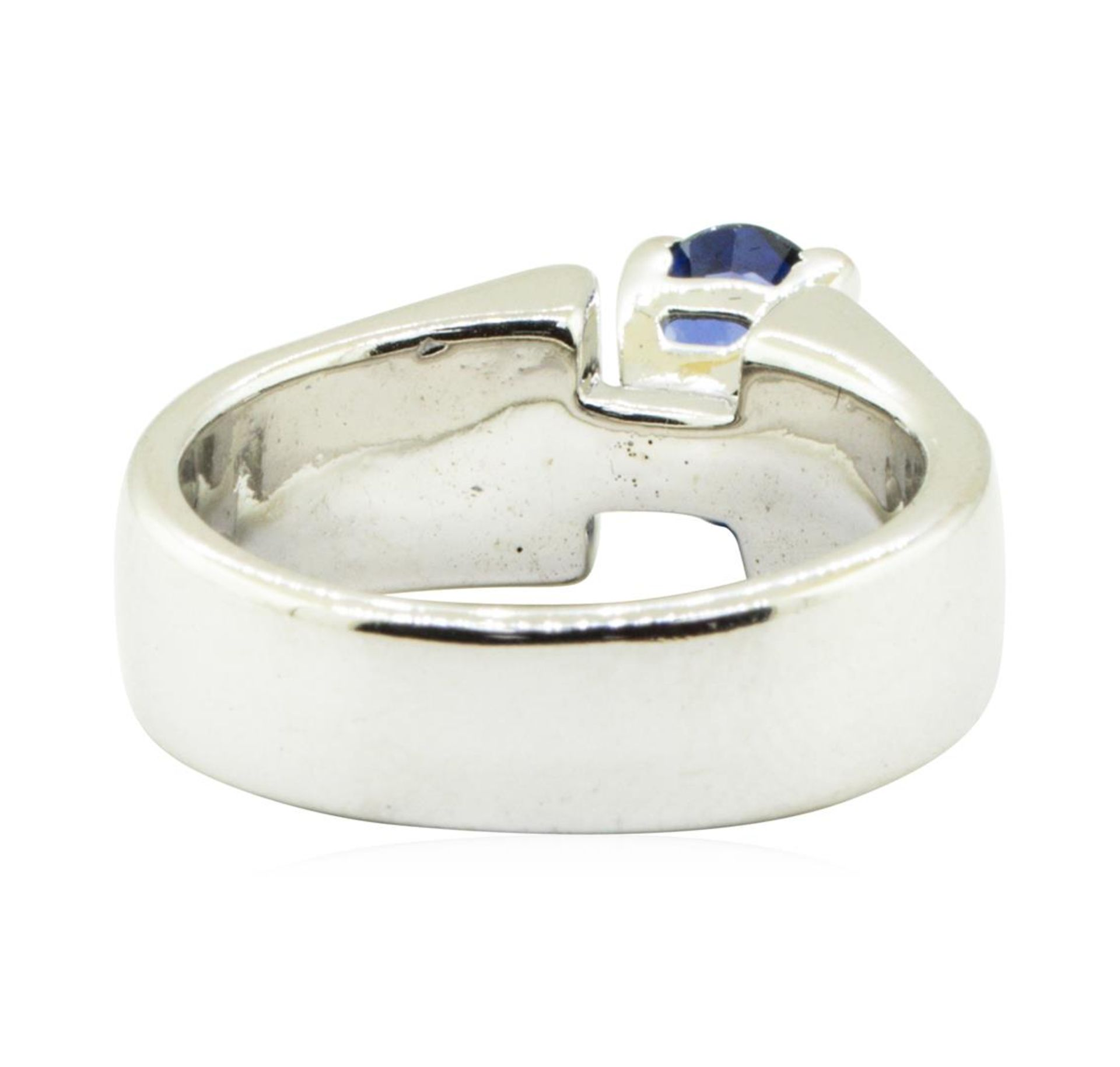 2.17 ctw Oval Brilliant Blue Sapphire And Diamond Ring - 14KT White Gold - Image 3 of 5