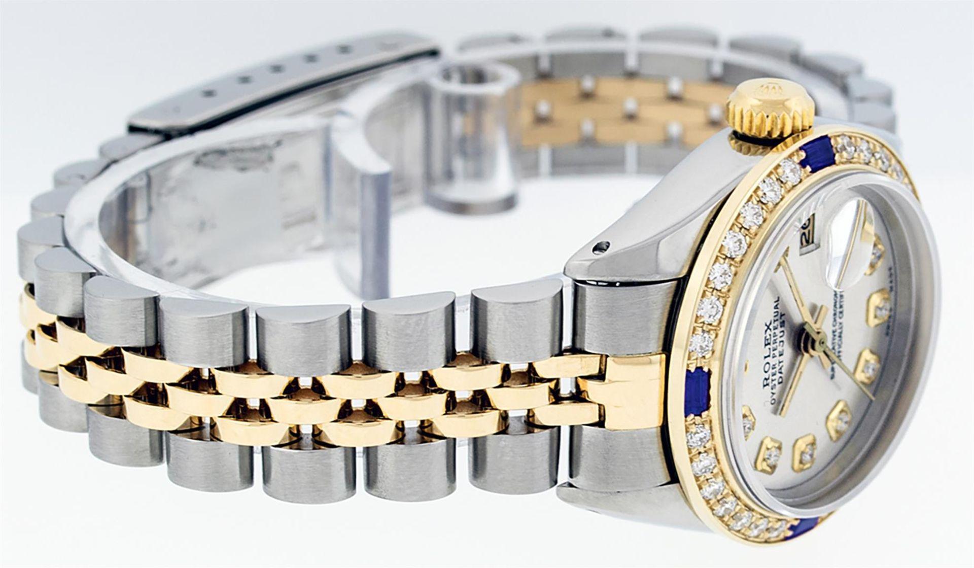 Rolex Ladies 2 Tone Silver Diamond & Sapphire Datejust Wristwatch - Image 7 of 9