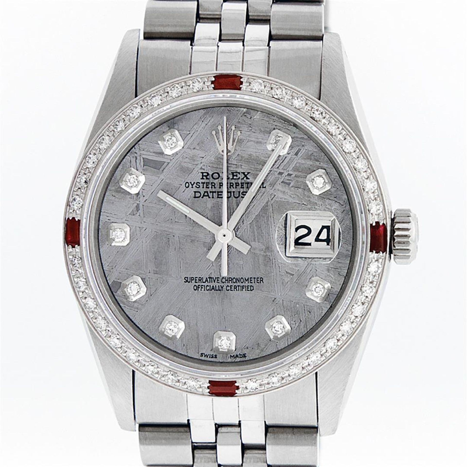 Rolex Mens Stainless Steel Meteorite Diamond And Ruby Datejust Wristwatch 36MM - Image 9 of 9