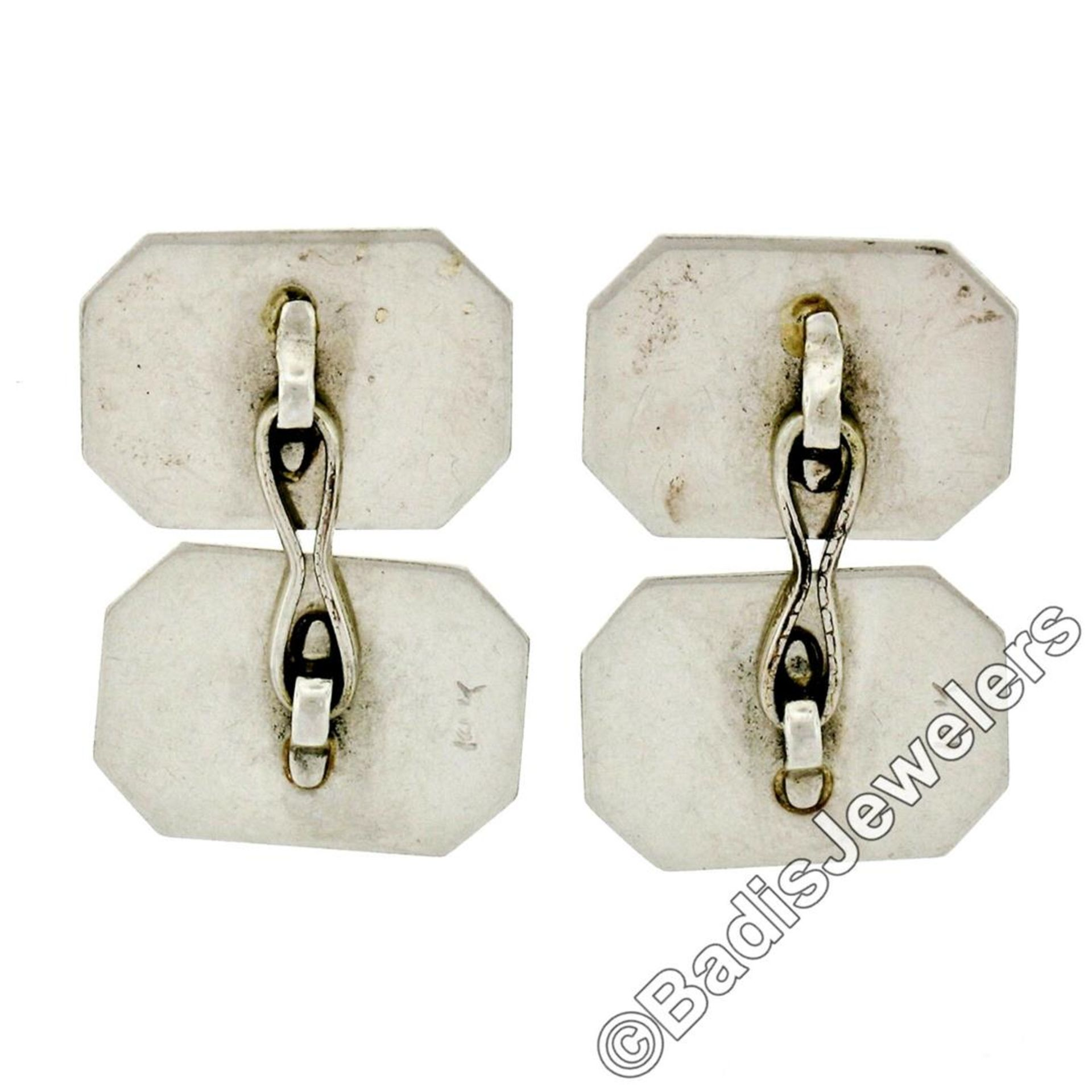 Antique Art Deco 14kt White Gold Etched Dual Panel Cuff Links - Image 5 of 5