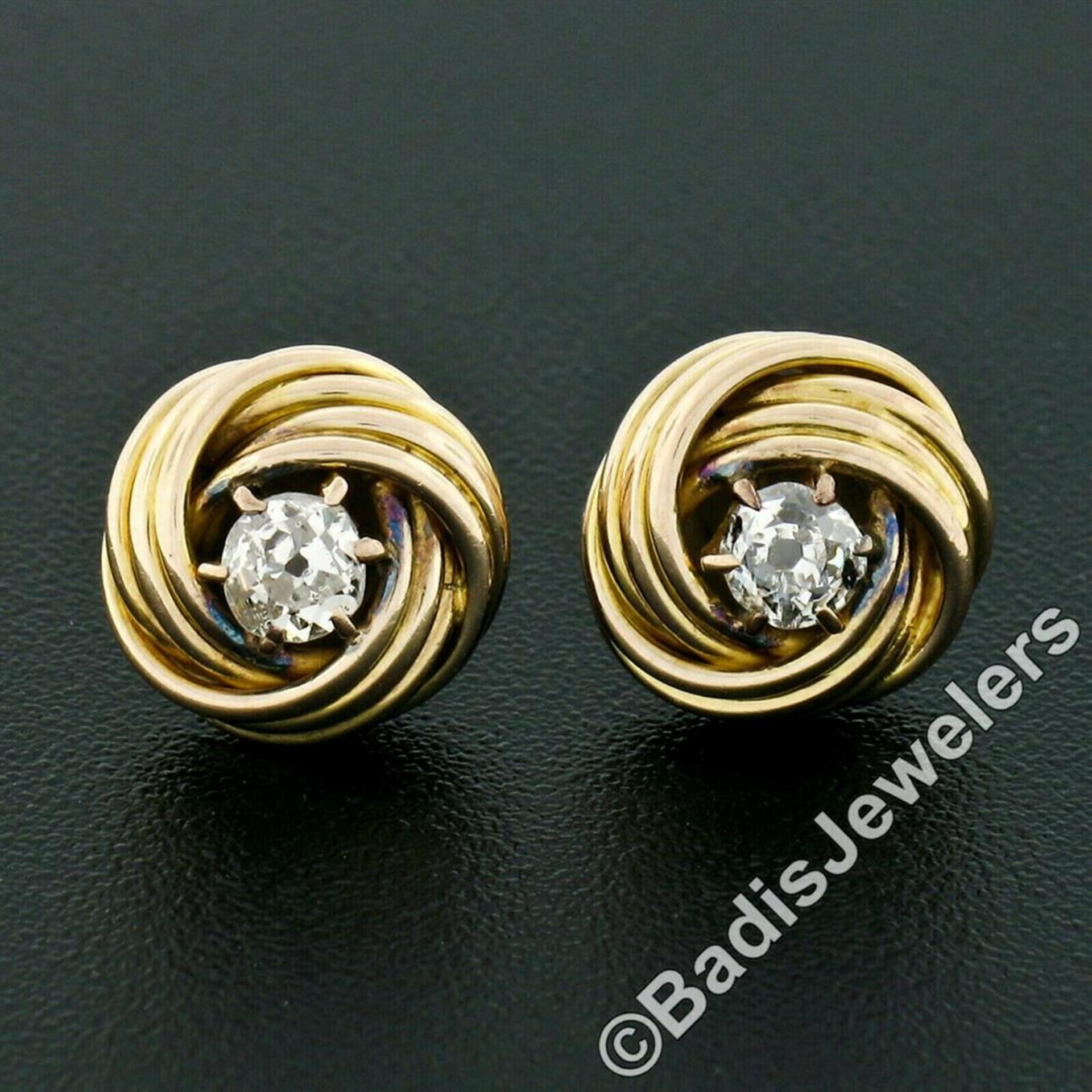 Victorian 14kt Yellow Gold 0.36 ctw Old Mine Cut Diamond Love Knot Stud Earrings - Image 2 of 5