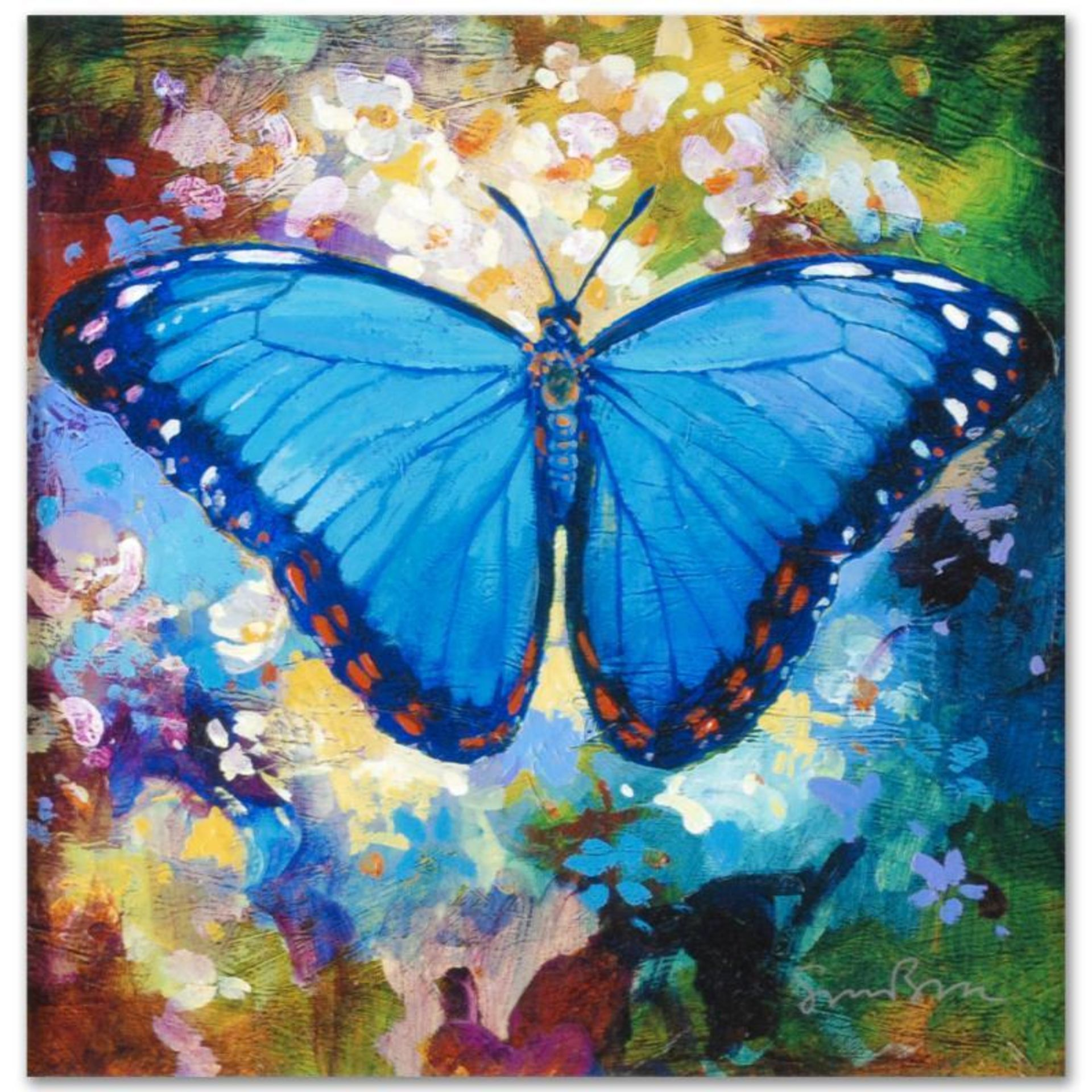 """Blue Morpho"" Limited Edition Giclee on Canvas by Simon Bull, Numbered and Signe"