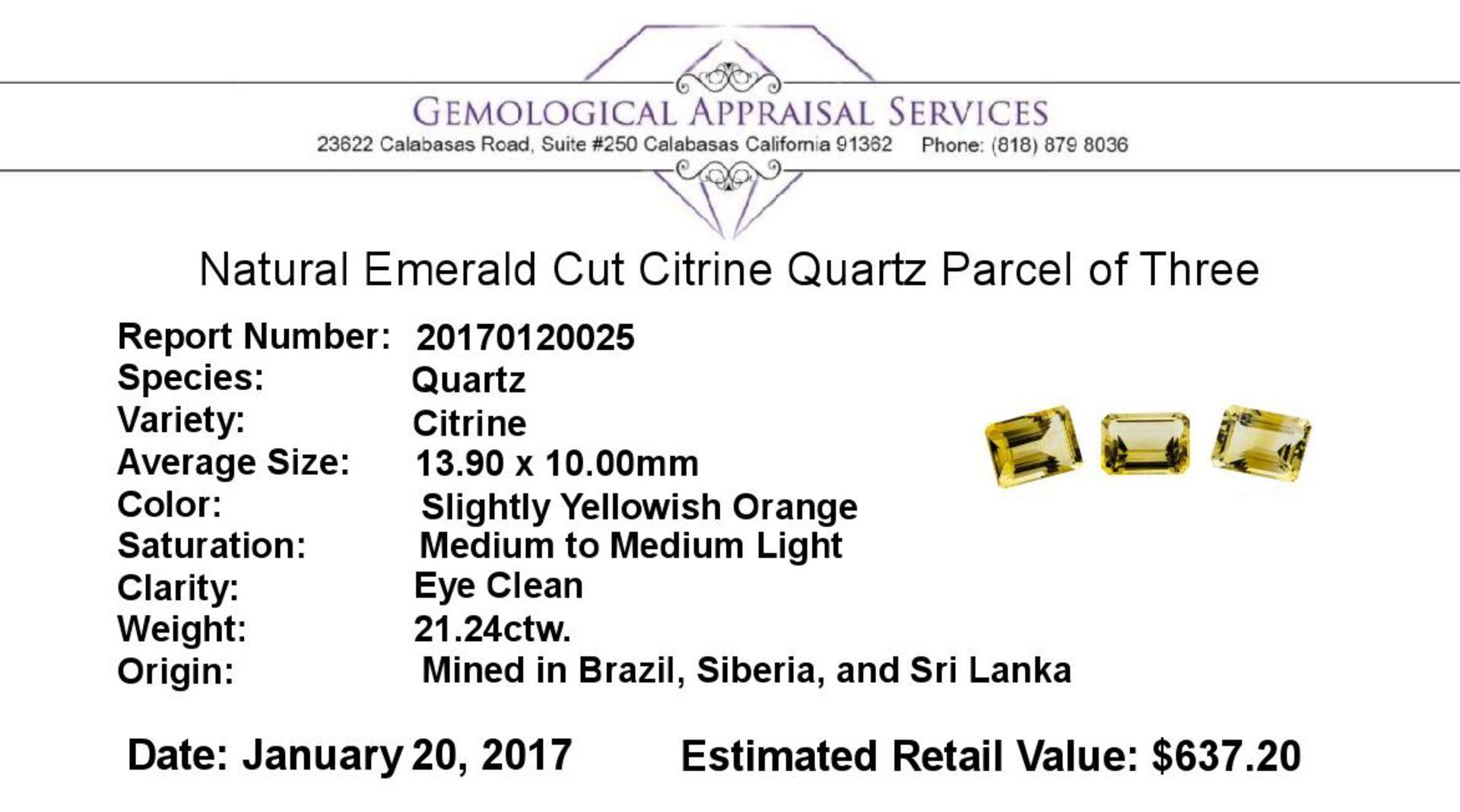 21.24 ctw.Natural Emerald Cut Citrine Quartz Parcel of Three - Image 3 of 3