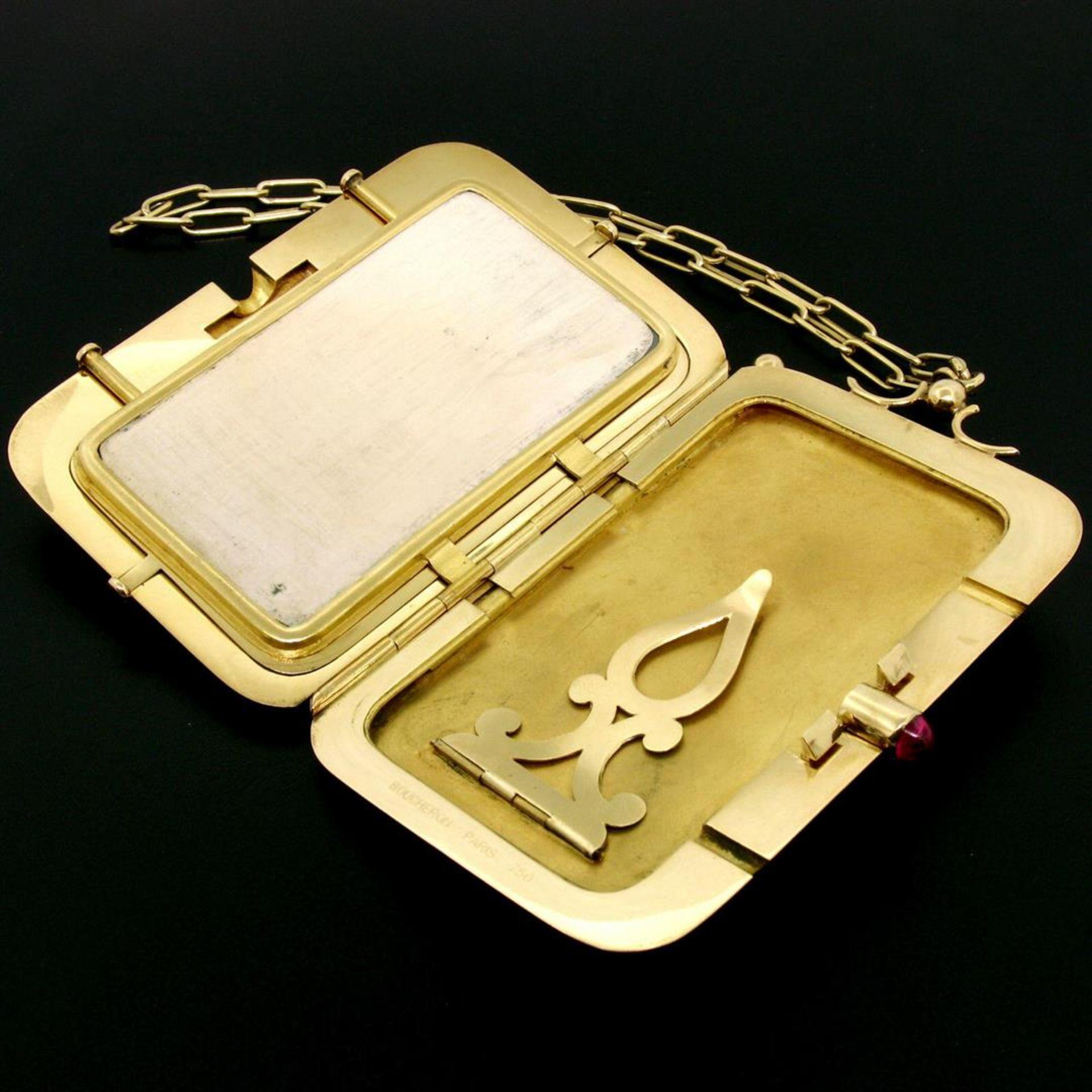 Vintage BOUCHERON Paris 18k Tri Color Gold Ruby Compact Powder Case - Image 8 of 9