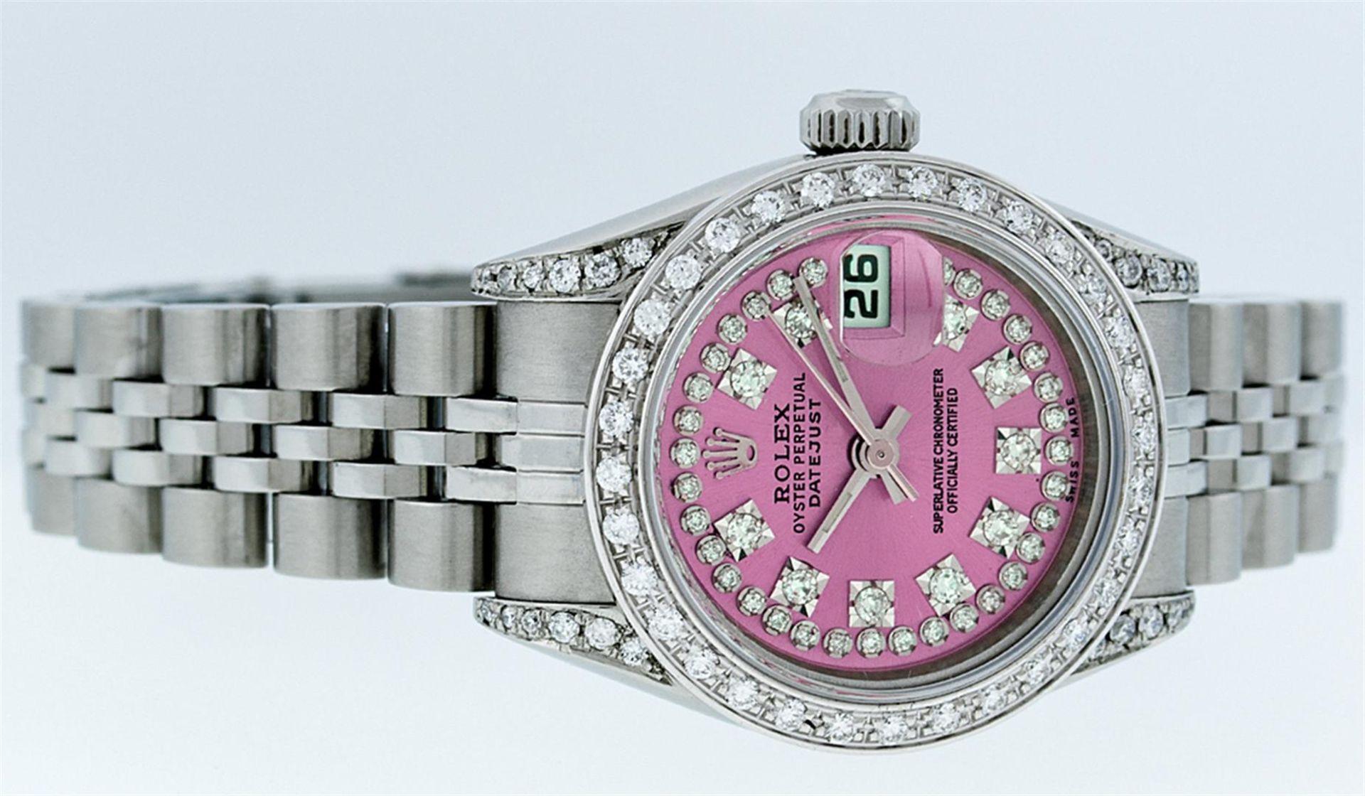 Rolex Ladies Stainless Steel Quickset Pink String Diamond Lugs Datejust Wristwat - Image 6 of 9