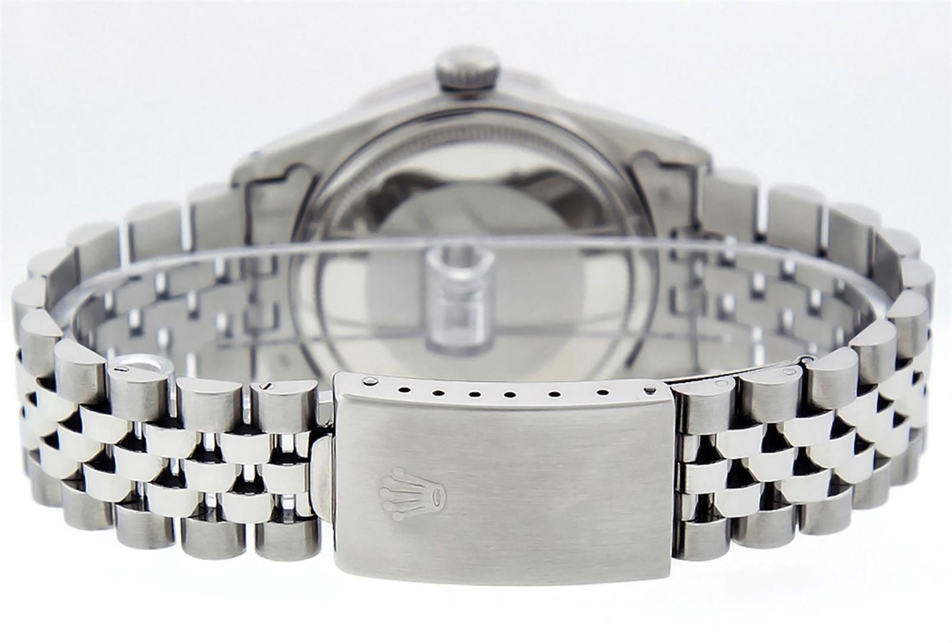 Rolex Mens Stainless Steel 36MM Blue Diamond Datejust Wristwatch - Image 6 of 9