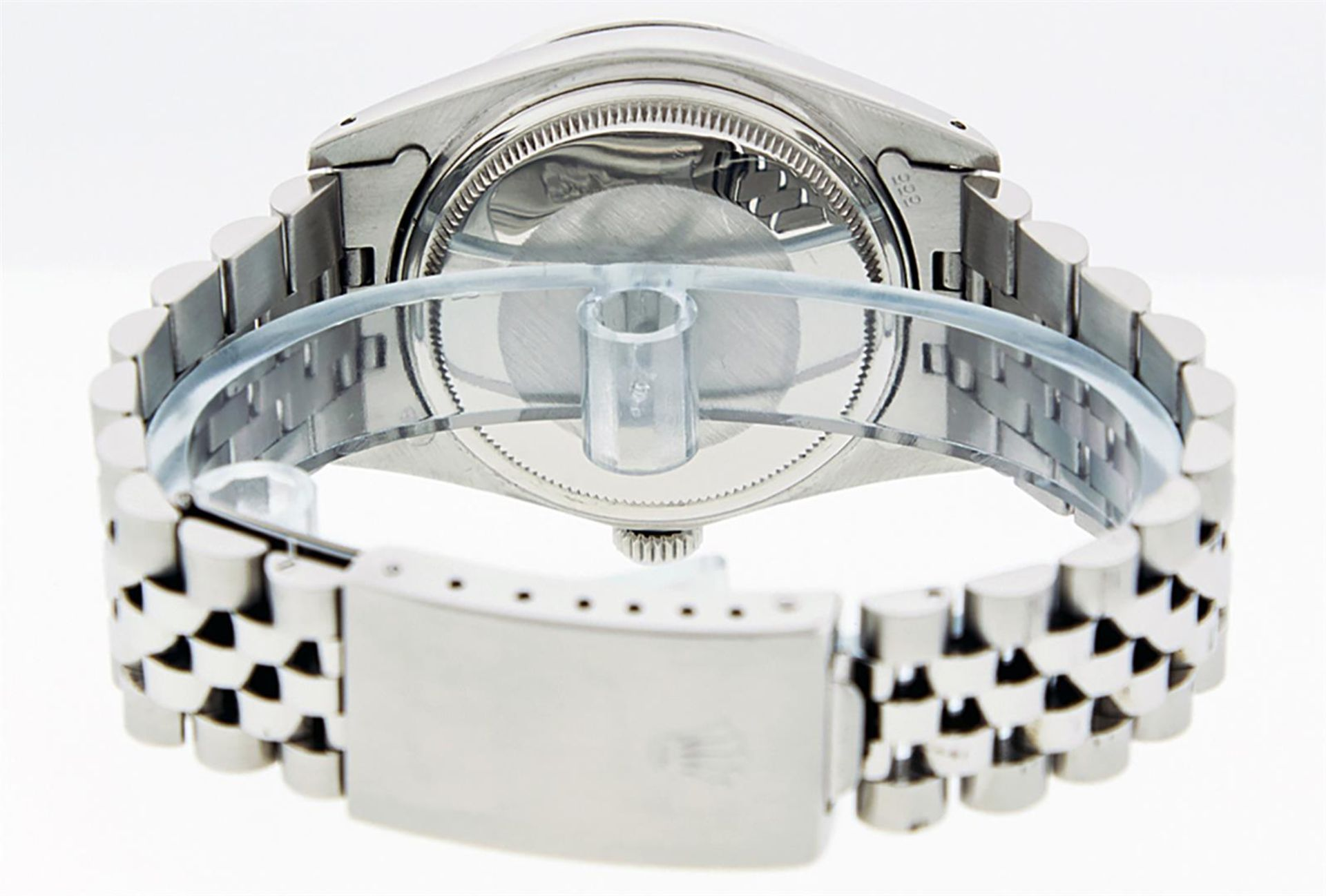 Rolex Mens Stainless Steel Black Diamond & Emerald Oyster Perpetual Datejust Wri - Image 9 of 9
