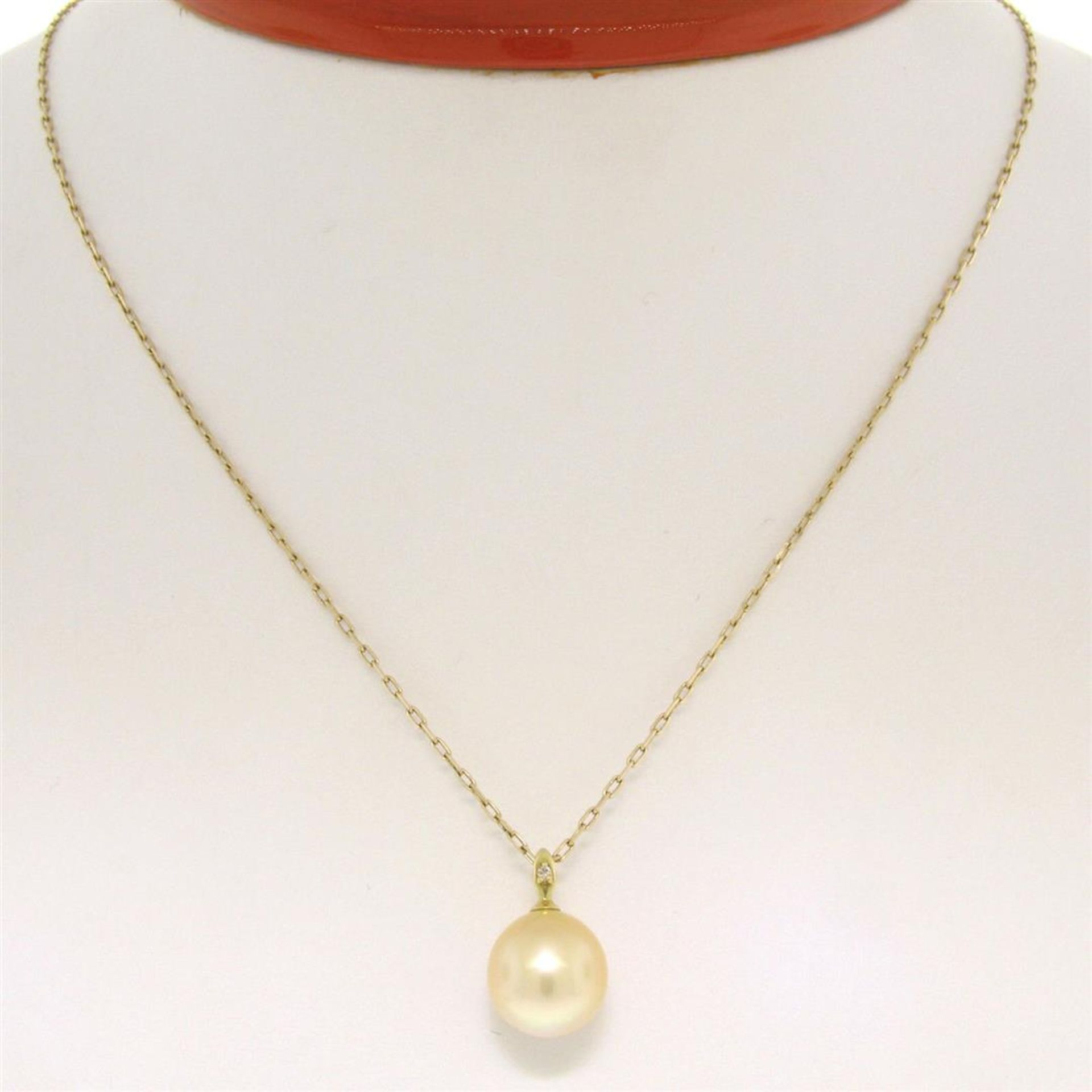 18kt Yellow Gold 10.45mm Pearl and Diamond Solitaire Pendant Necklace