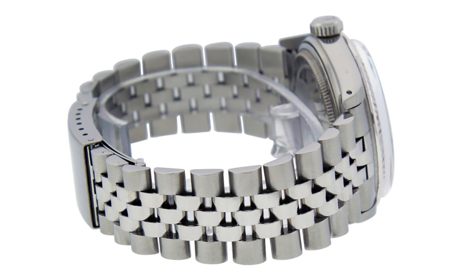 Rolex Mens Stainless Black Diamond 36MM Datejust Wristwatch - Image 4 of 9
