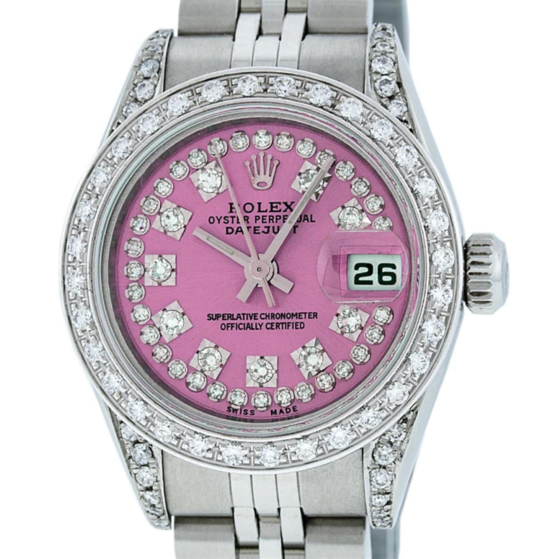 Rolex Ladies Stainless Steel Quickset Pink String Diamond Lugs Datejust Wristwat - Image 5 of 9