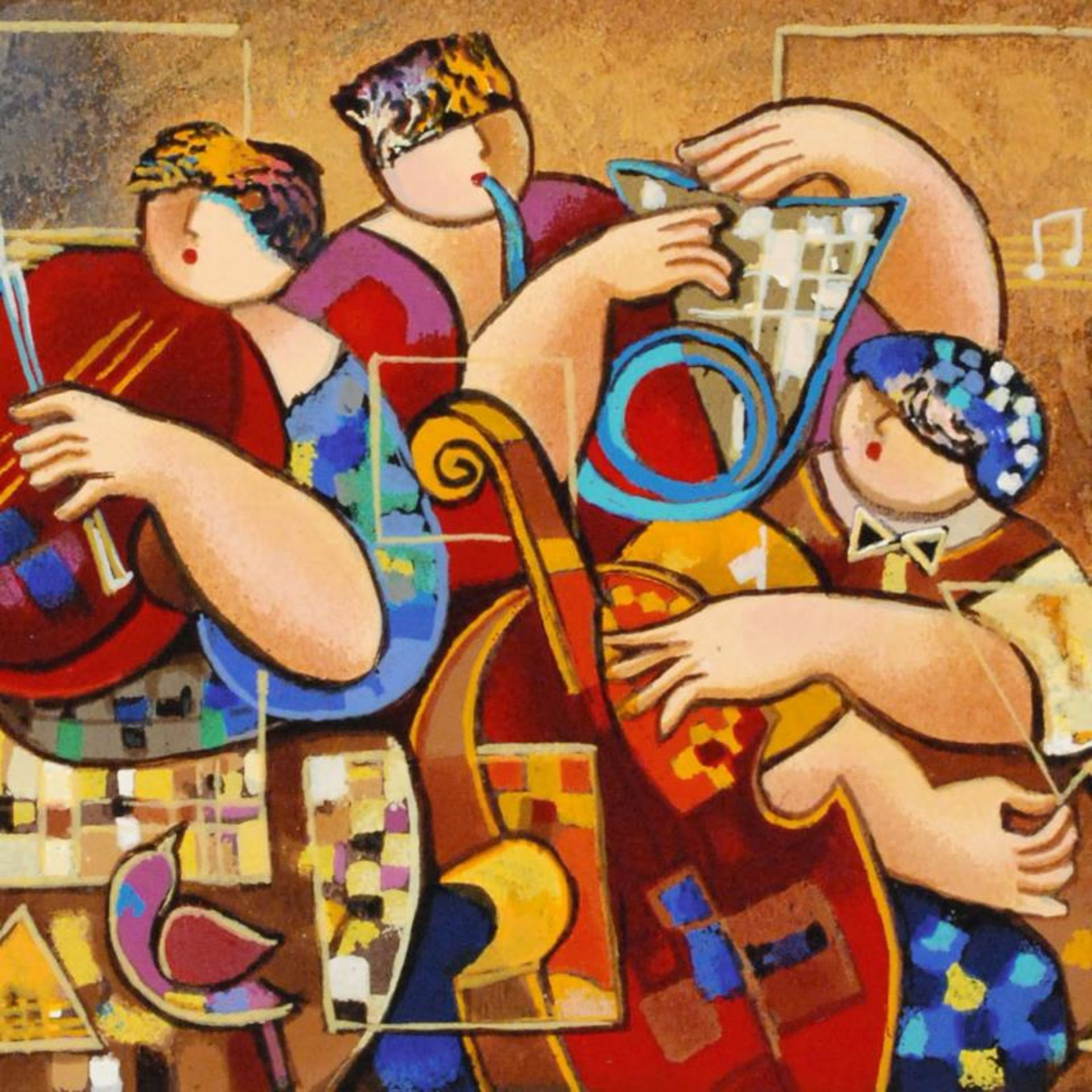 """Dorit Levi, """"Trio Chorus"""" Limited Edition Serigraph, Numbered and Hand Signed wi - Image 2 of 2"""