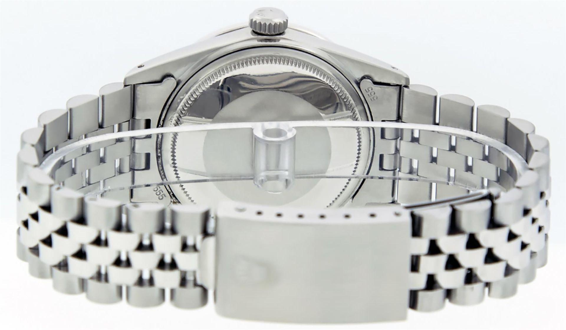 Rolex Mens Stainless Black Diamond 36MM Datejust Wristwatch - Image 7 of 9