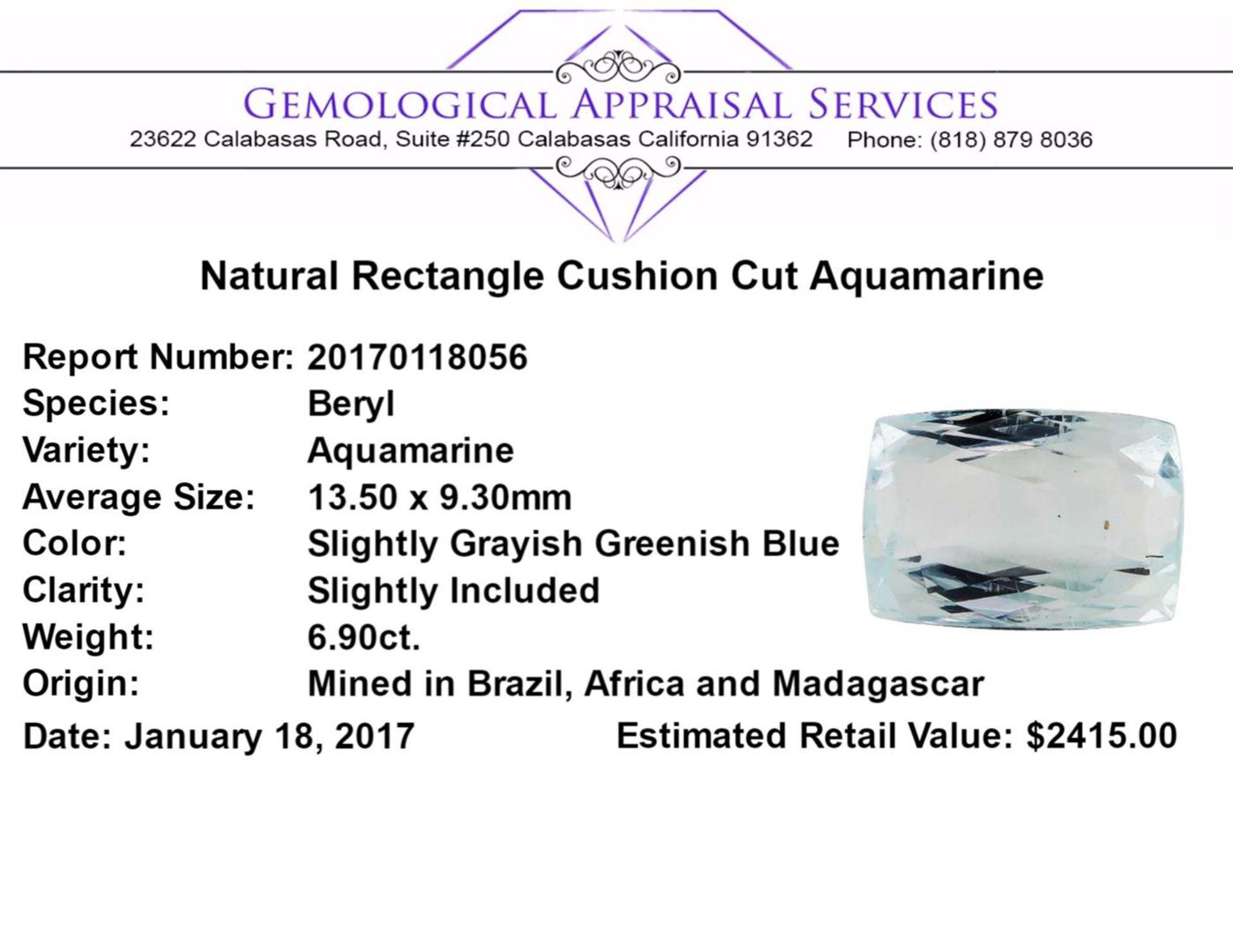 6.90 ct.Natural Rectangle Cushion Cut Aquamarine - Image 2 of 2
