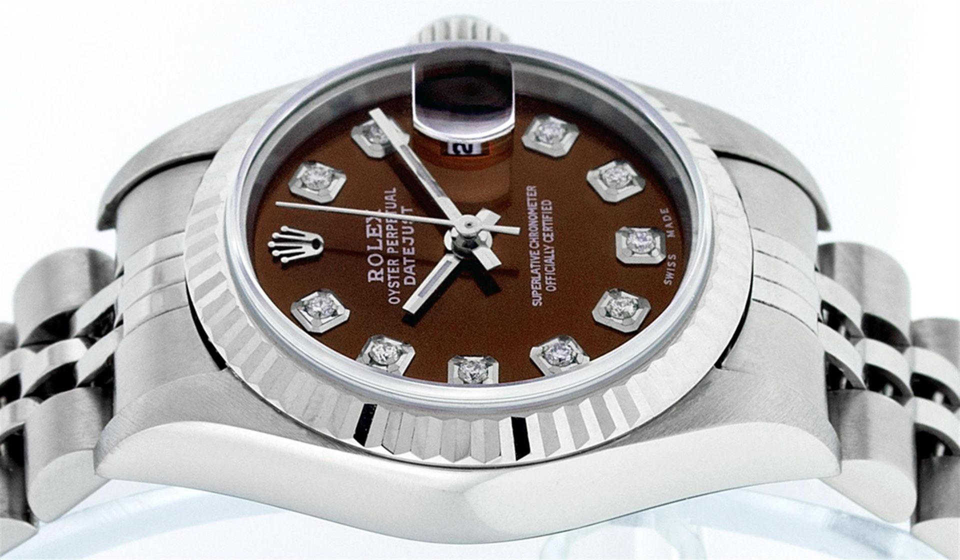 Rolex Ladies Stainless Steel Mother Of Pearl Diamond Quickset Datejust Wristwatc - Image 9 of 9
