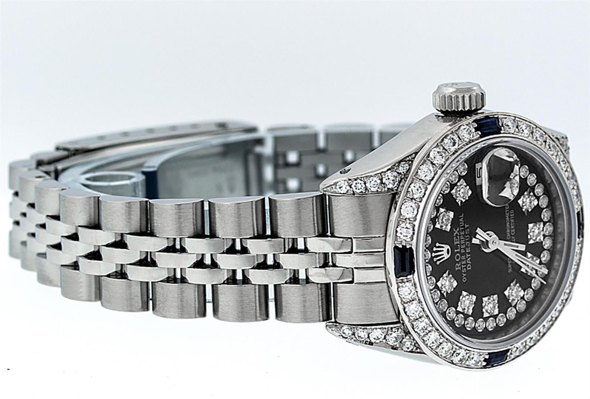 Rolex Ladies Stainless Steel 26MM Black String Diamond Lugs Datejust Wristwatch - Image 3 of 9