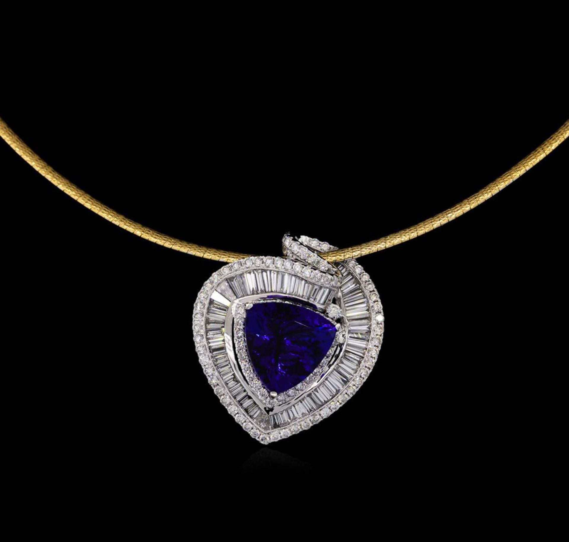 14KT Two-Tone Gold 10.88 ctw Tanzanite and Diamond Pendant With Chain - Image 2 of 4