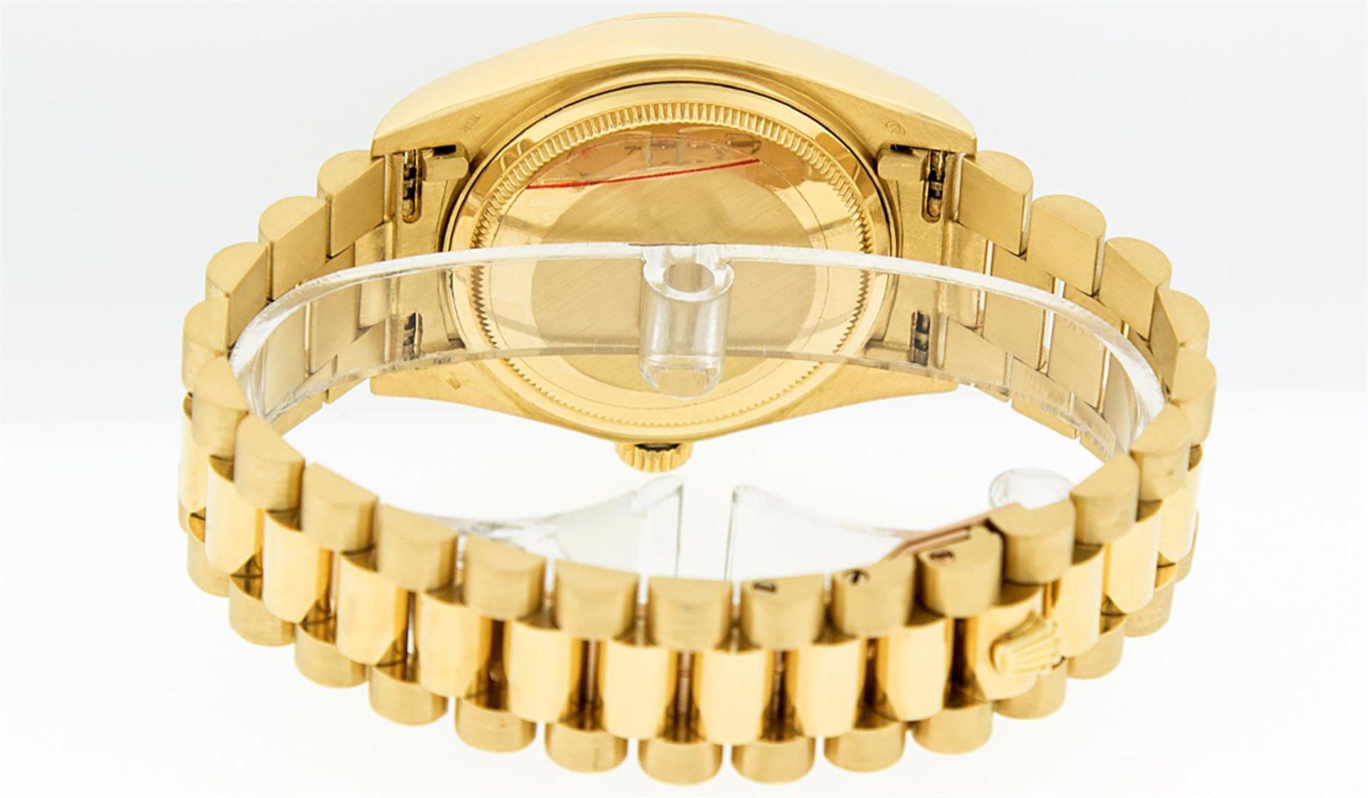 Rolex Mens 18K Yellow Gold Blue Vignette Diamond Quickset President Wristwatch W - Image 7 of 9