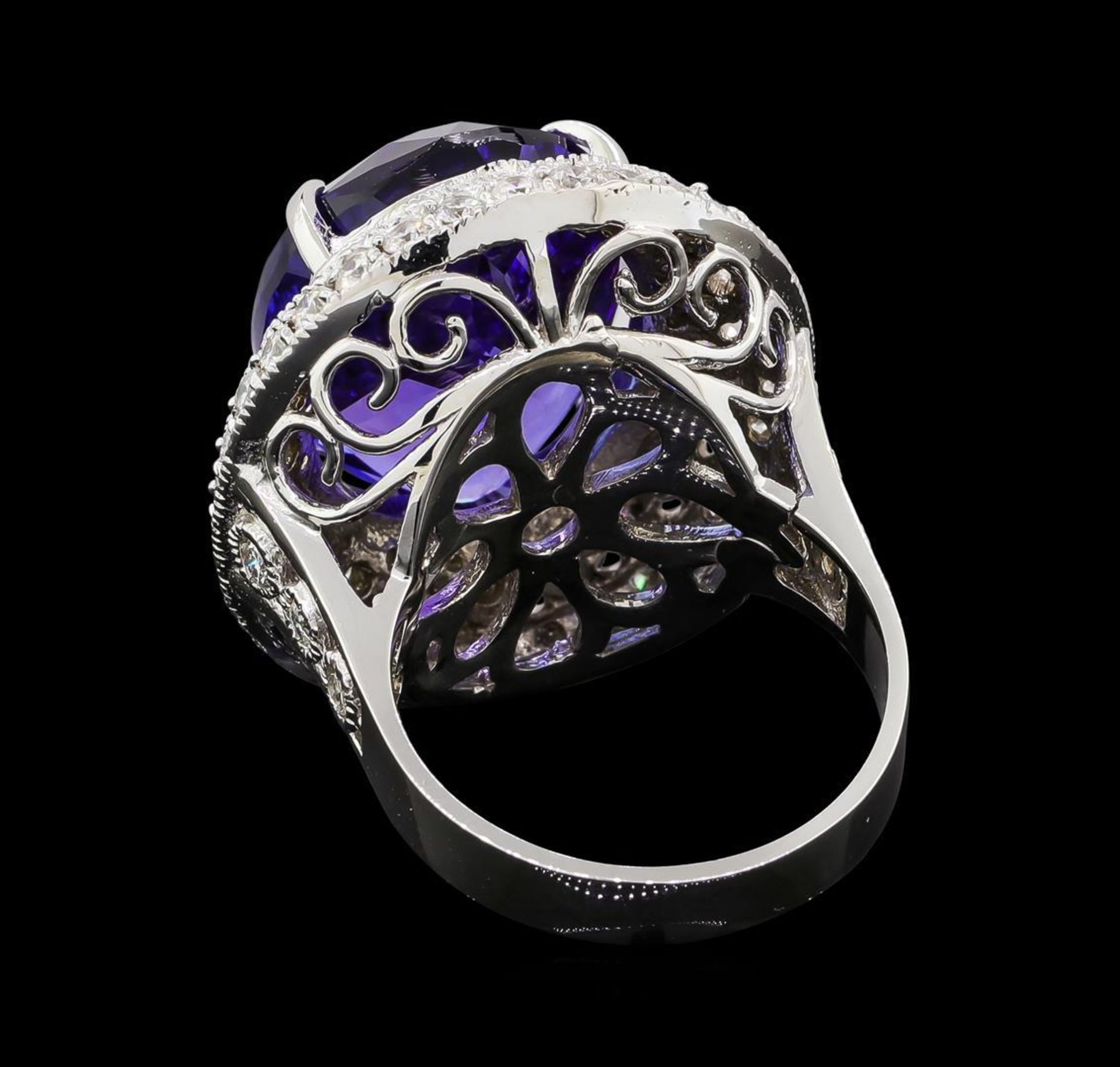 GIA Cert 19.95 ctw Tanzanite and Diamond Ring - 14KT White Gold - Image 3 of 6