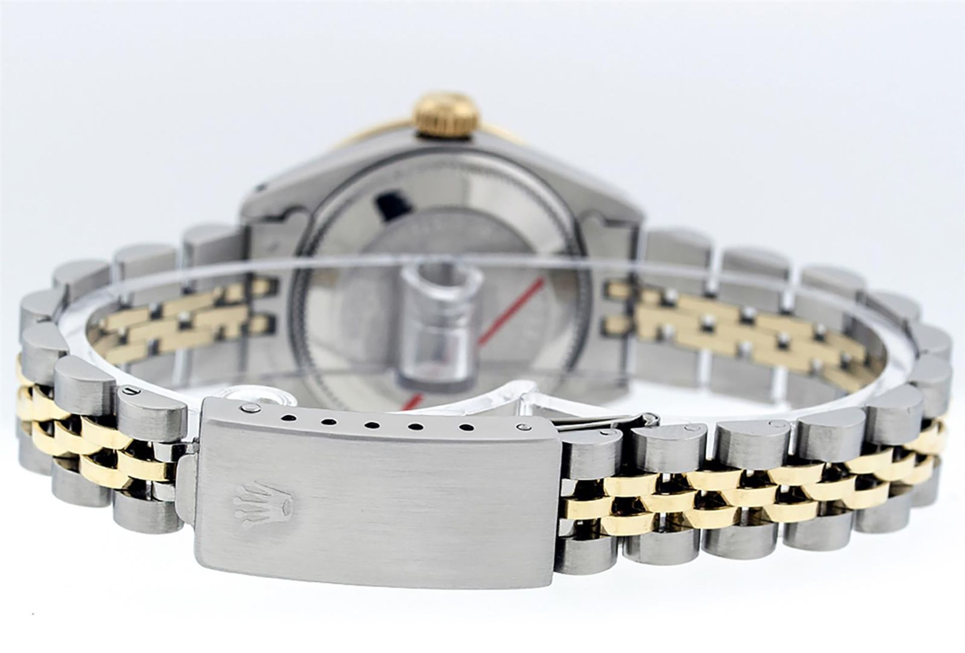 Rolex Ladies 2T 26 MOP Diamond & Sapphire Oyster Perpetual Datejust Serviced - Image 7 of 9