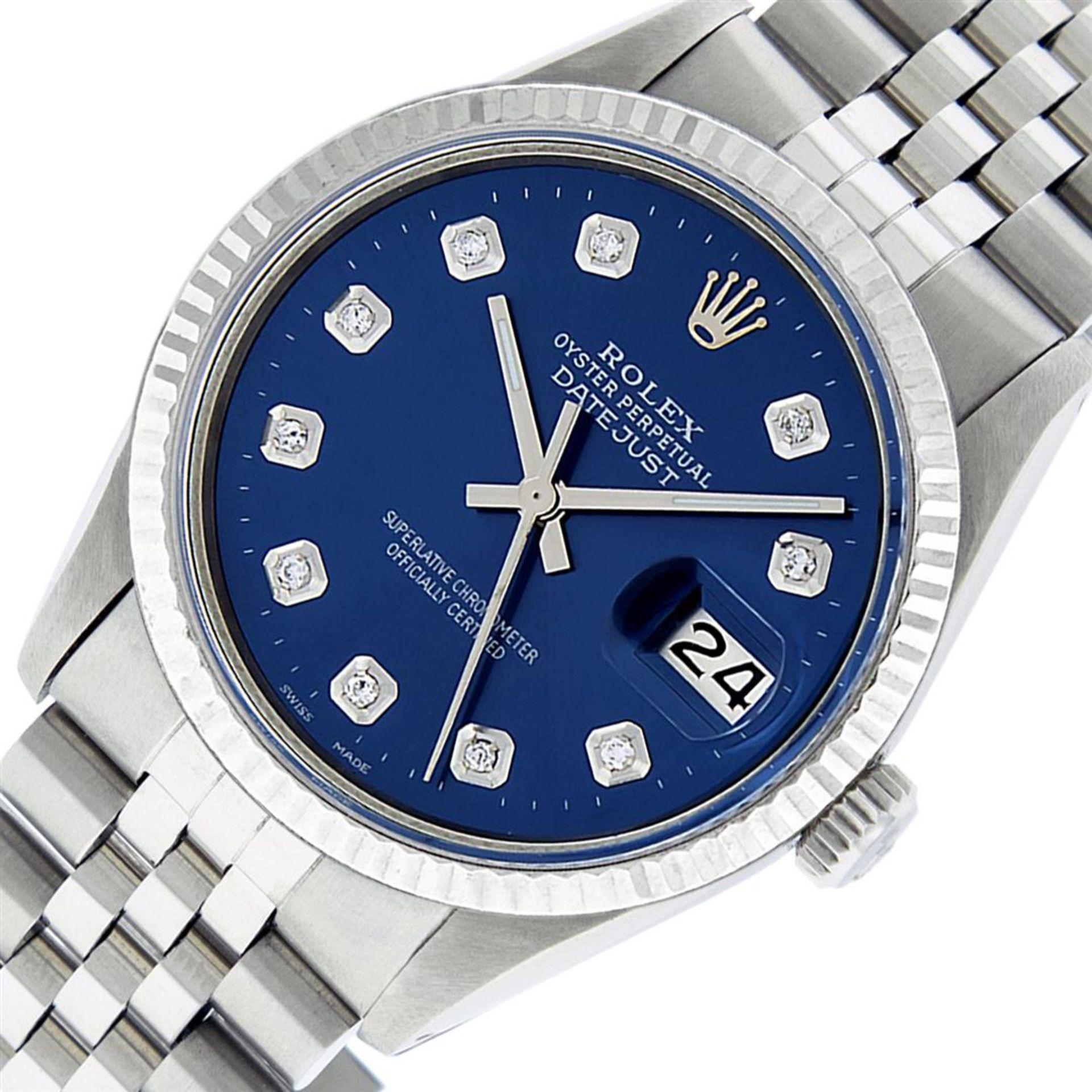 Rolex Mens Stainless Steel 36MM Blue Diamond Datejust Wristwatch - Image 2 of 9