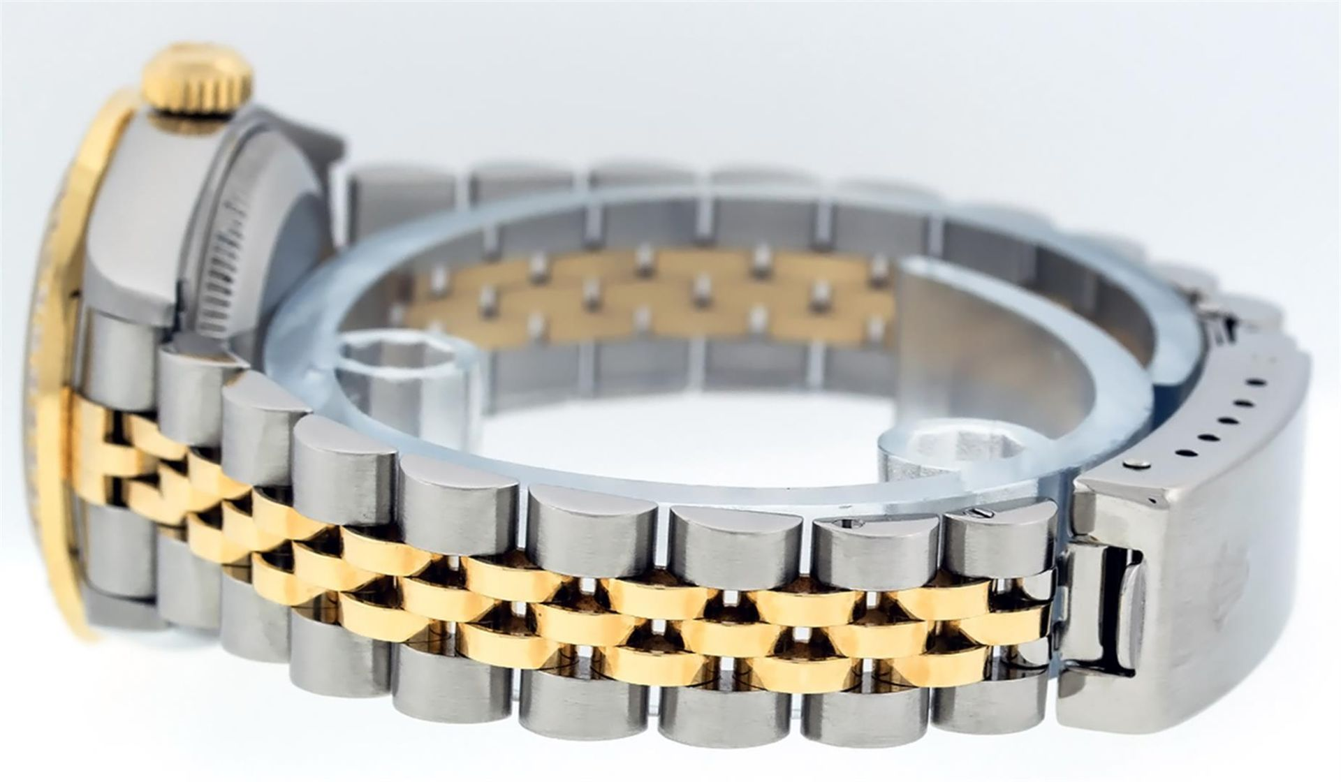 Rolex Ladies 2 Tone 18K Champagne String Diamond Lugs Datejust Wristwatch - Image 7 of 7