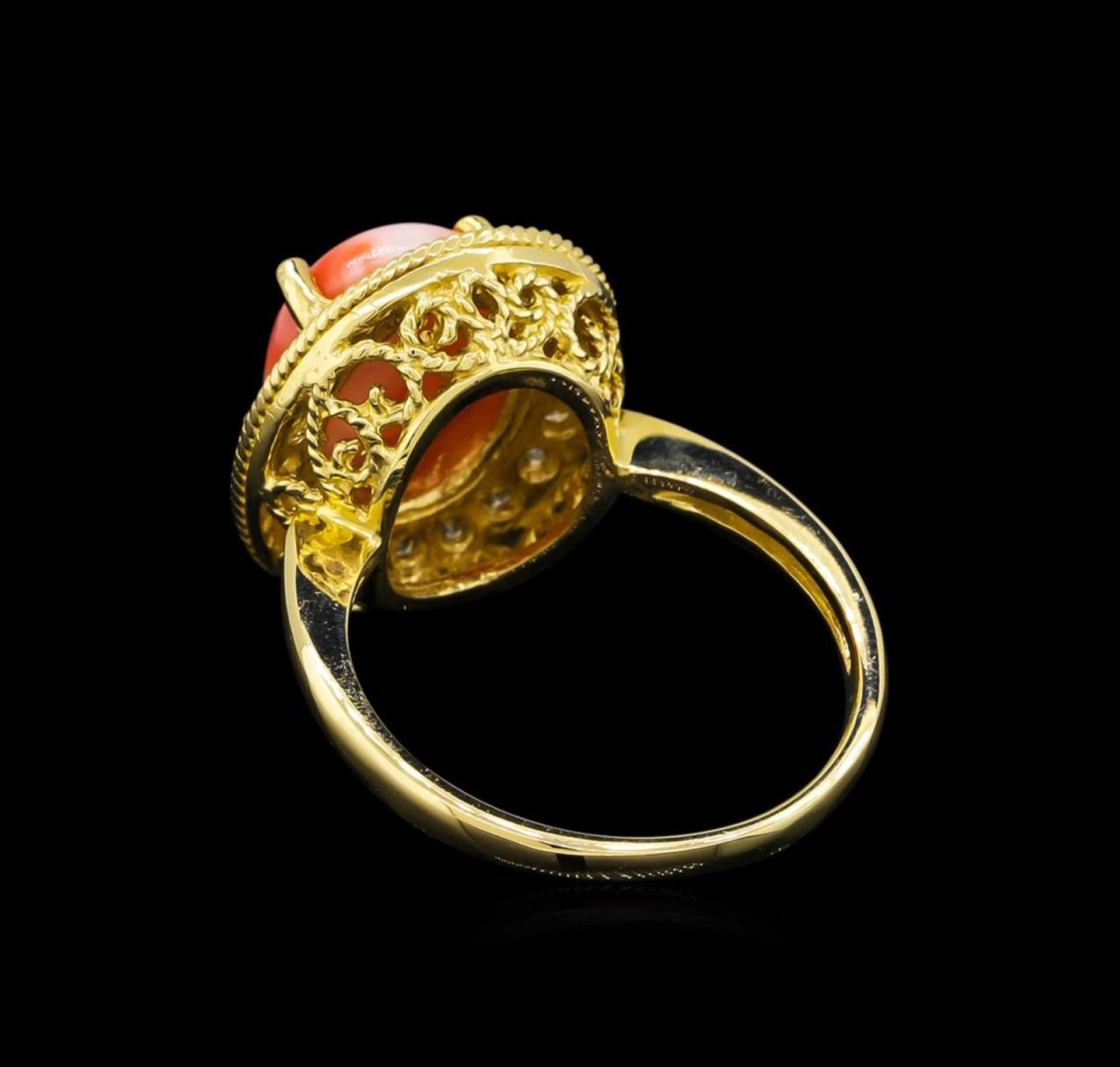 14KT Yellow Gold 3.16 ctw Coral and Diamond Ring - Image 3 of 5