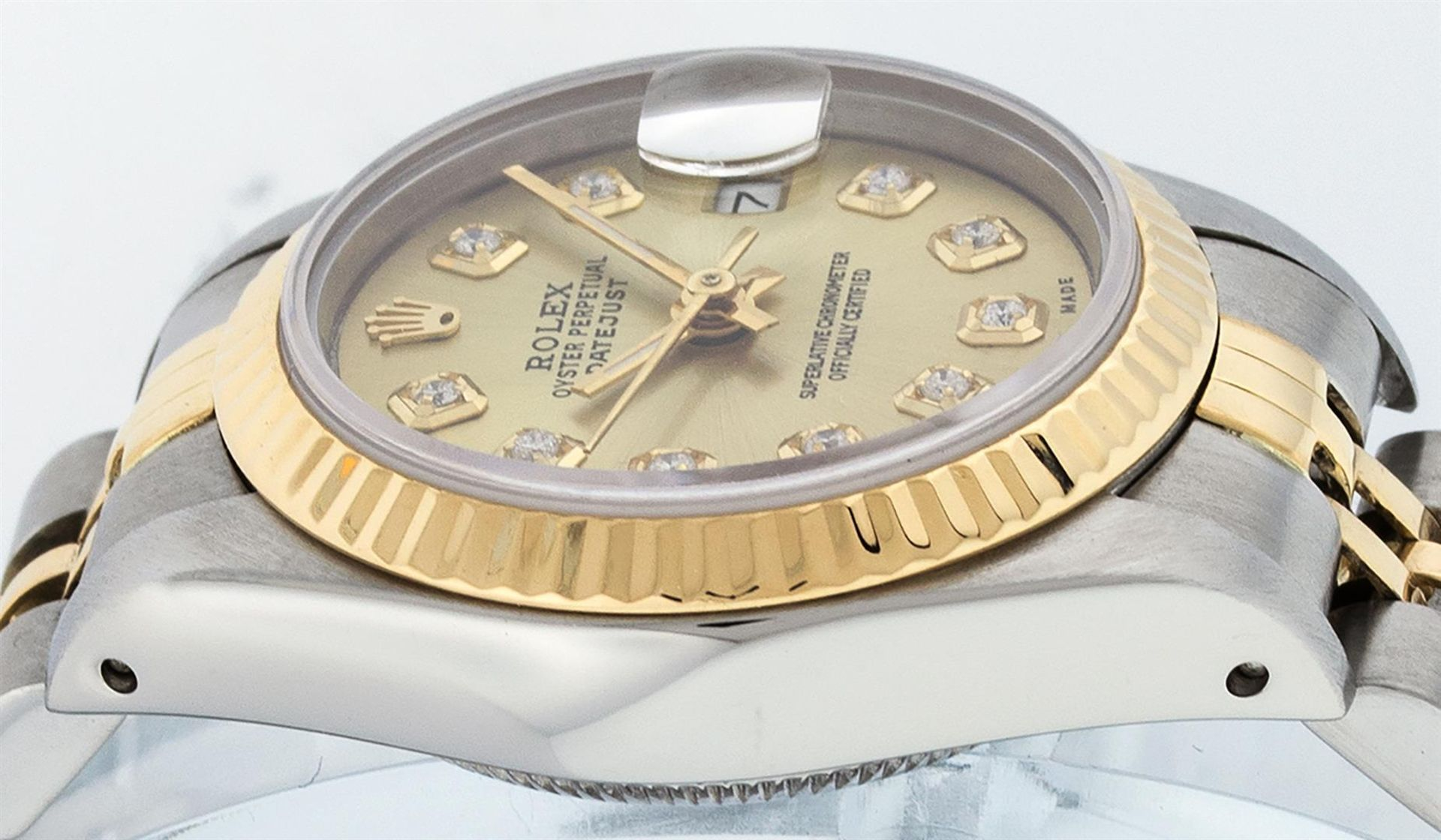Rolex Ladies 2 Tone Champagne Diamond 26MM Datejust Wristwatch - Image 4 of 9