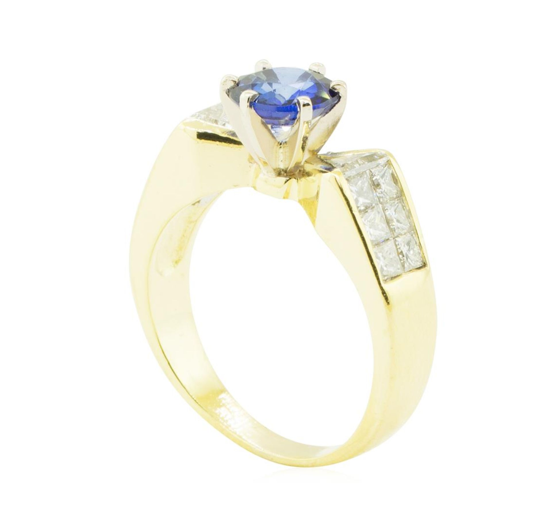 2.20 ctw Blue Sapphire and Diamond Ring - 18KT Yellow Gold - Image 4 of 4