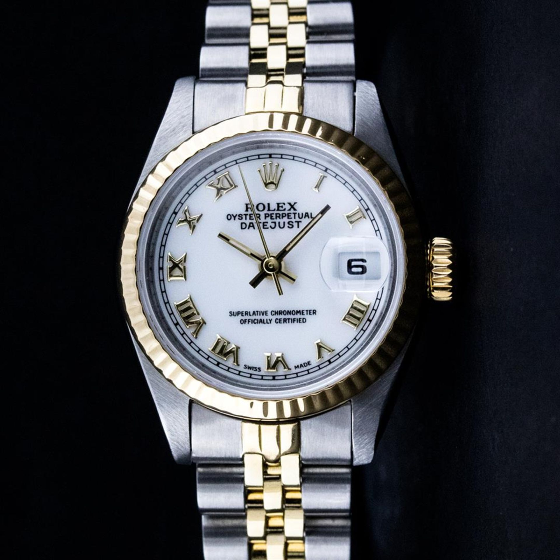 Rolex Ladies 2 Tone Yellow Gold & Stainless Steel White Roman 26MM Datejust
