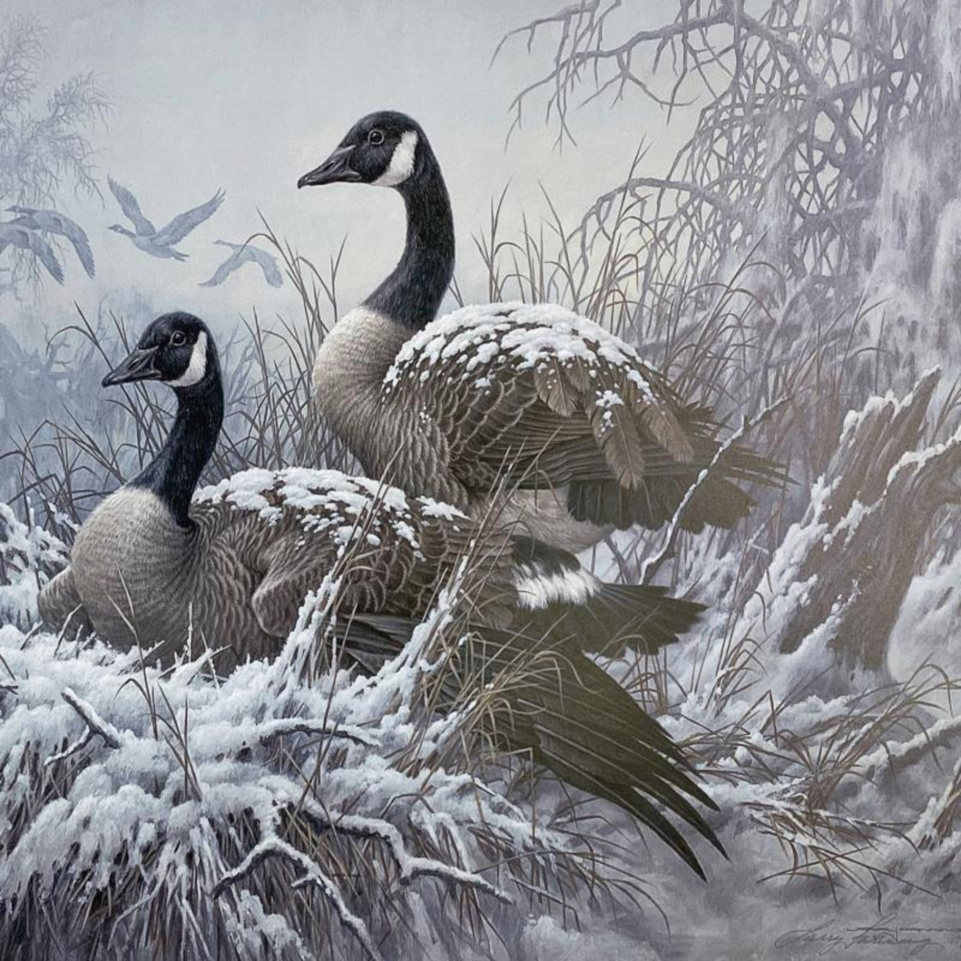 """Larry Fanning (1938-2014), """"April Snow - Canada Geese"""" Limited Edition Lithograp - Image 2 of 2"""