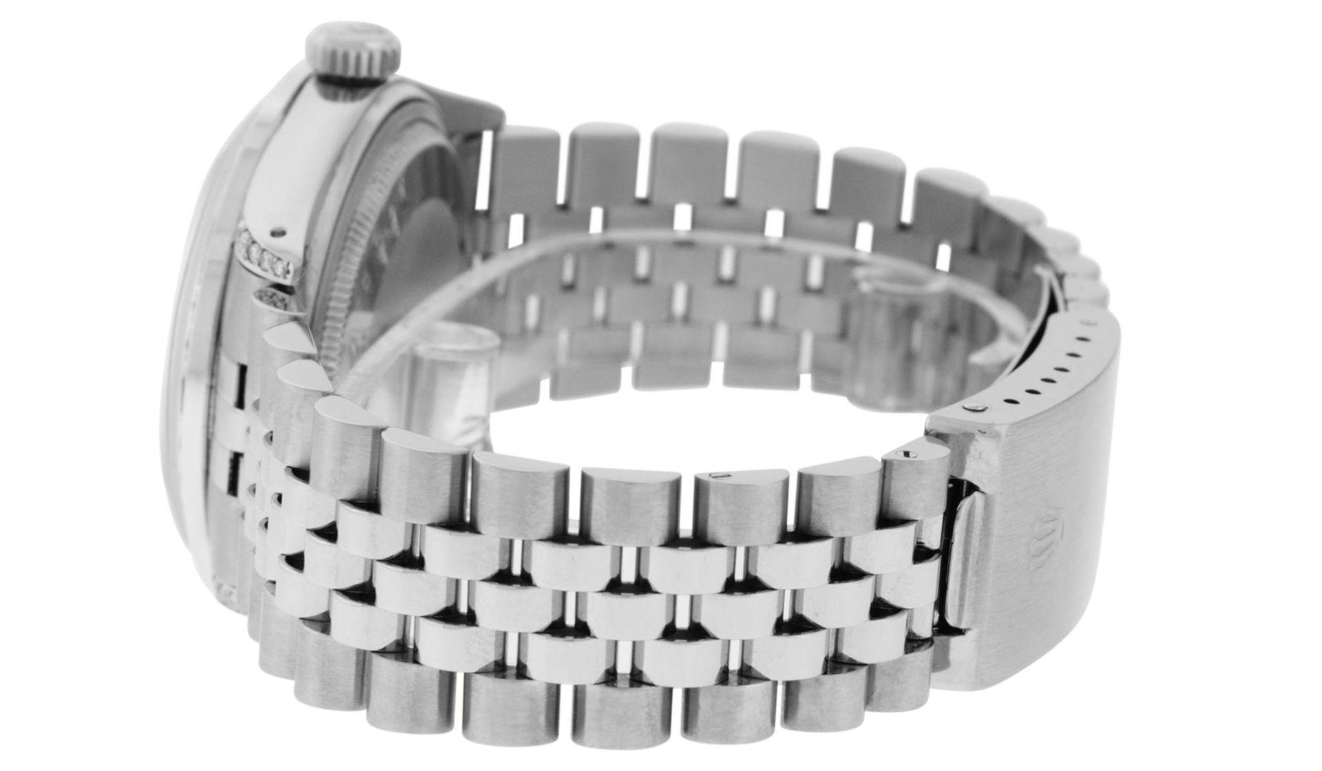 Rolex Mens Stainless Steel Black Diamond Lugs & Sapphire Datejust Wristwatch Oys - Image 4 of 9