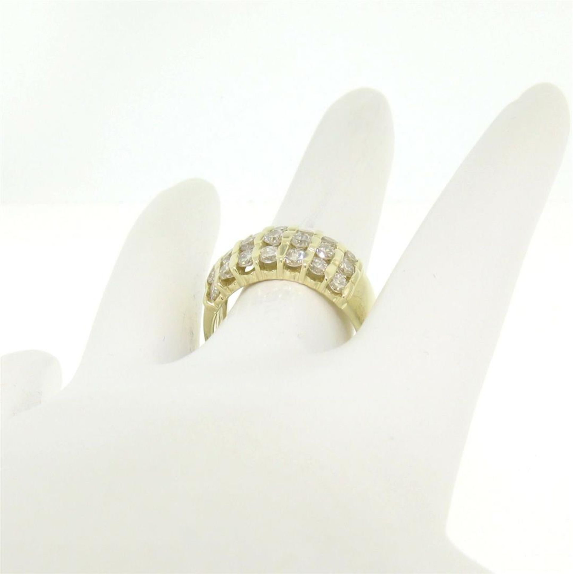 14kt Yellow Gold 1.48 ctw Bar Set Round Diamond Wide Band Ring - Image 6 of 7