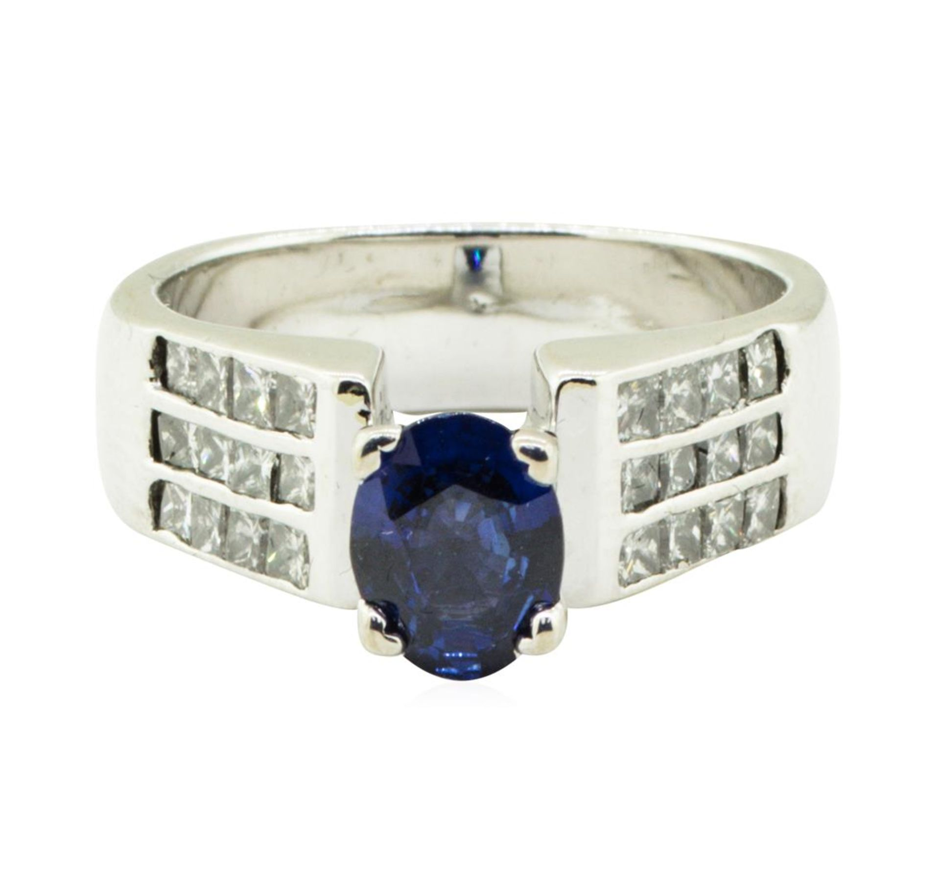 2.17 ctw Oval Brilliant Blue Sapphire And Diamond Ring - 14KT White Gold - Image 2 of 5