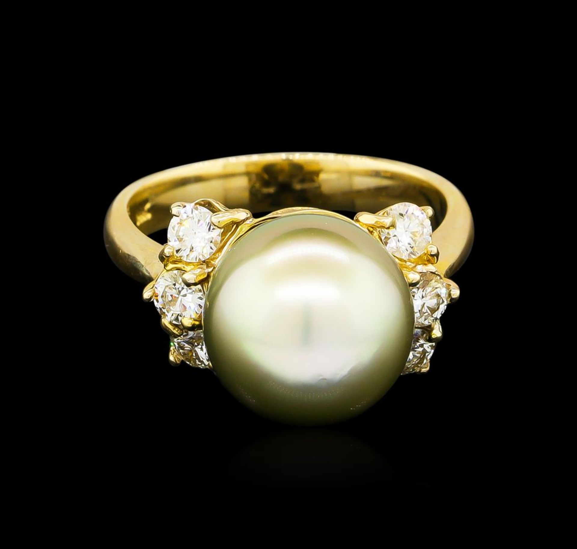 0.66 ctw Pearl and Diamond Ring - 14KT Yellow Gold - Image 2 of 4