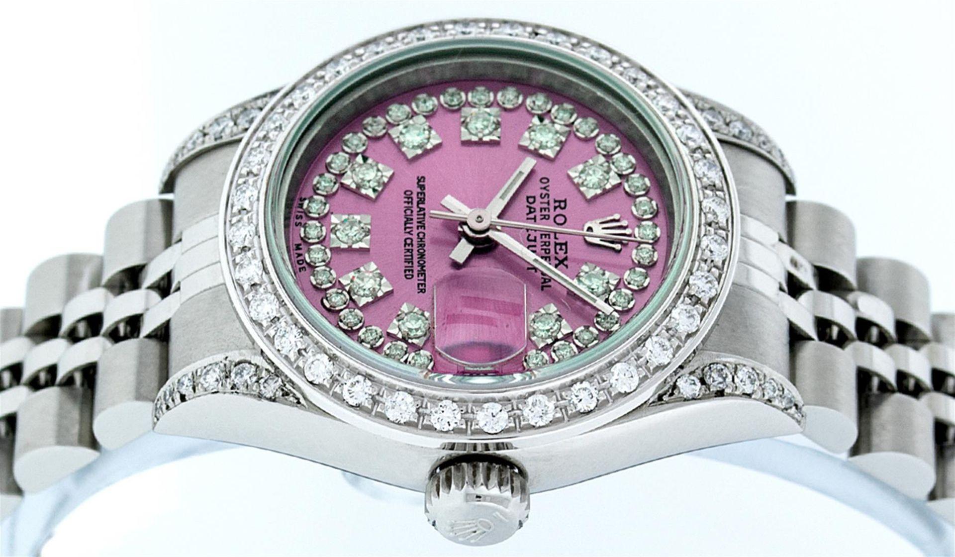 Rolex Ladies Stainless Steel Quickset Pink String Diamond Lugs Datejust Wristwat - Image 4 of 9