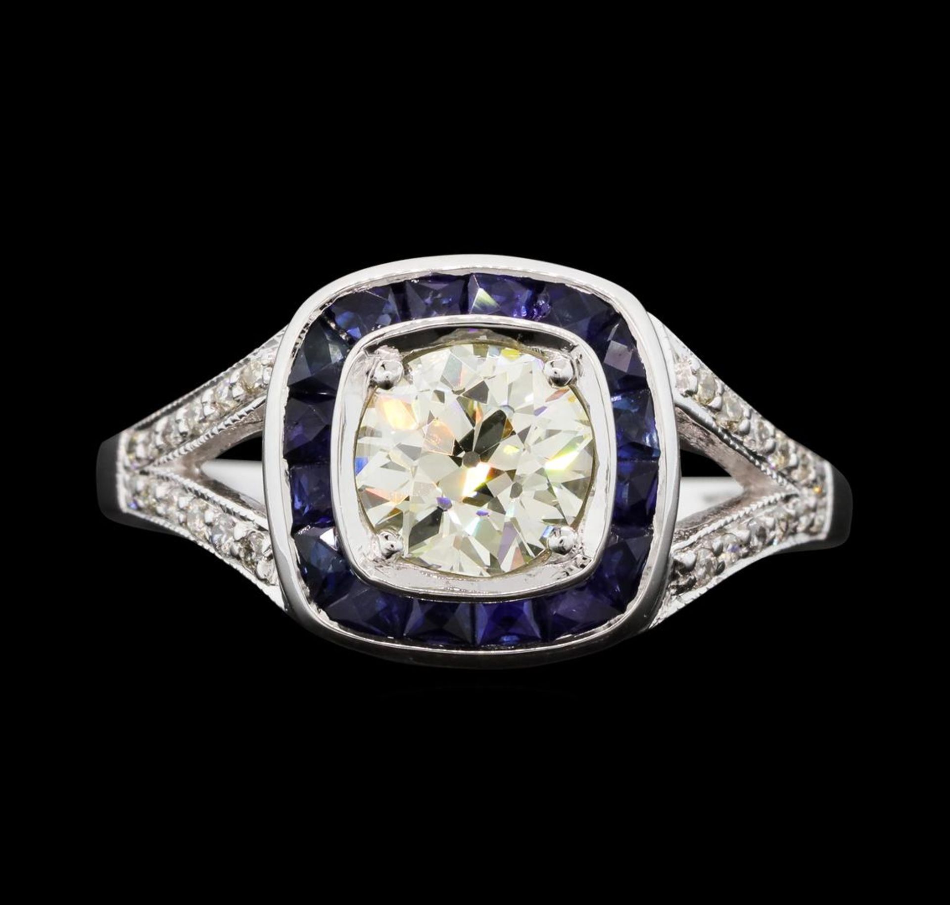 1.05 ctw Diamond And Sapphire Ring - 18KT White Gold - Image 2 of 5