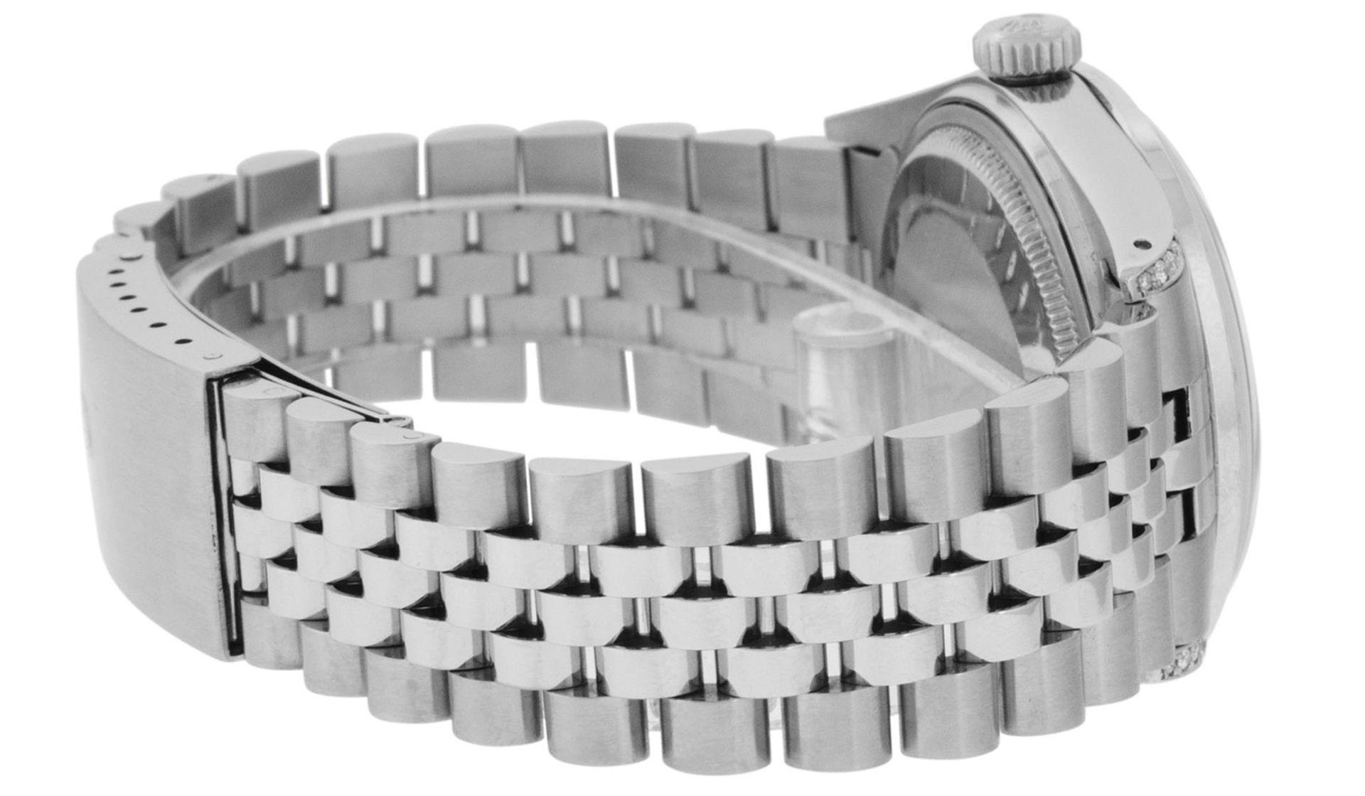 Rolex Mens Stainless Steel Black Diamond Lugs & Sapphire Datejust Wristwatch Oys - Image 8 of 9