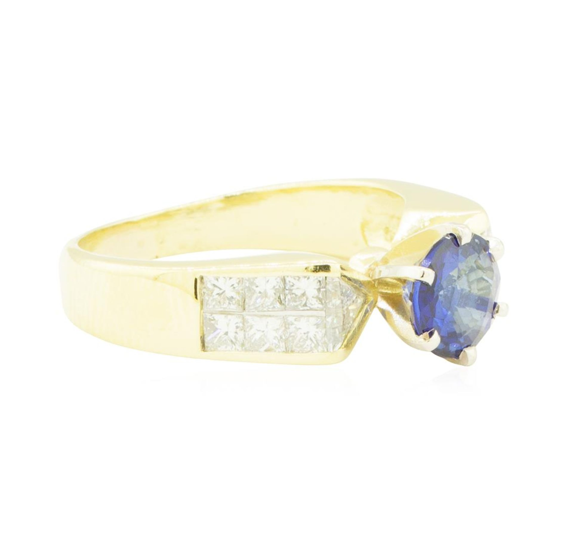 2.20 ctw Blue Sapphire and Diamond Ring - 18KT Yellow Gold