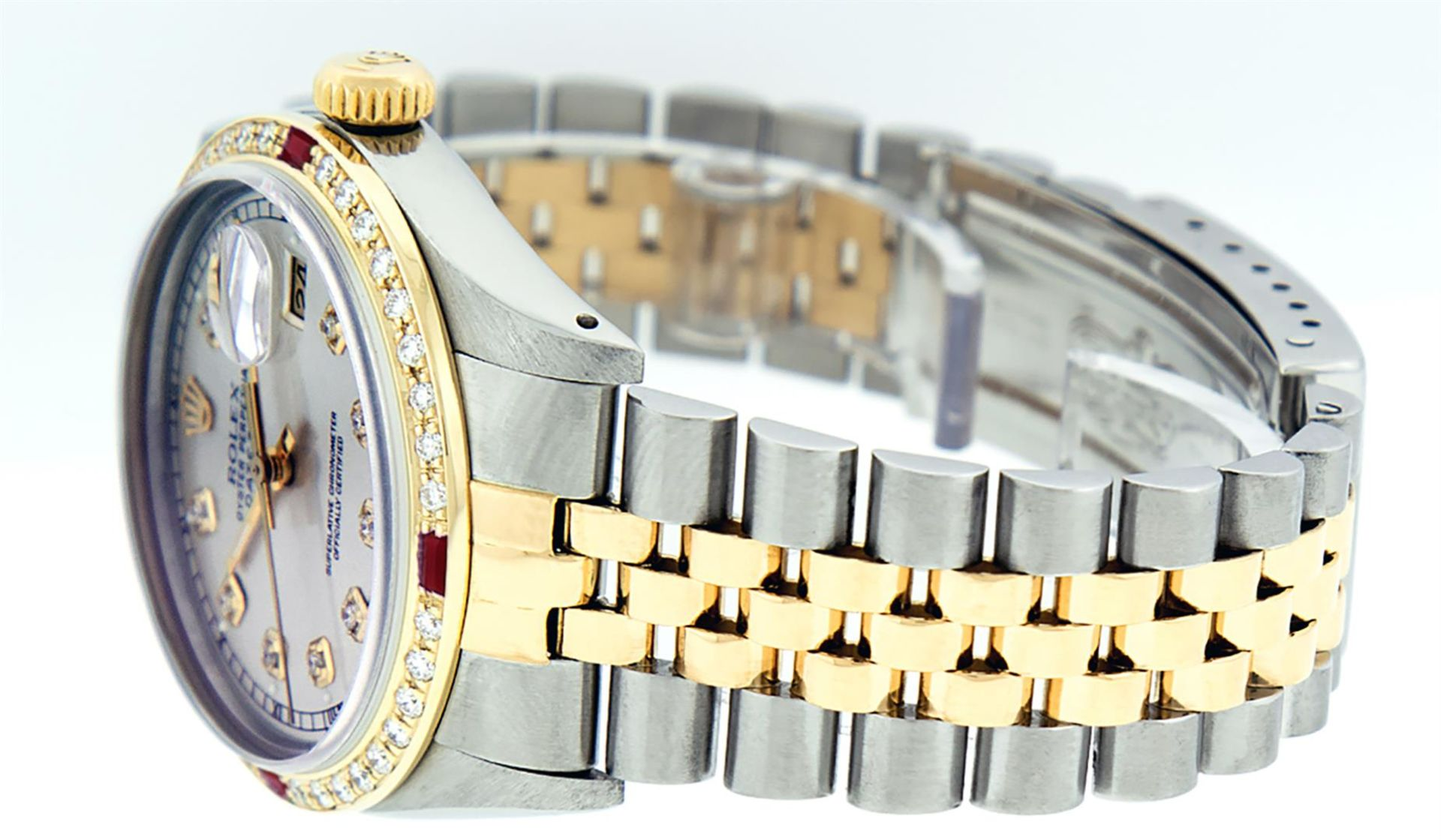 Rolex Mens 2 Tone Silver Diamond & Ruby Datejust Wristwatch - Image 9 of 9