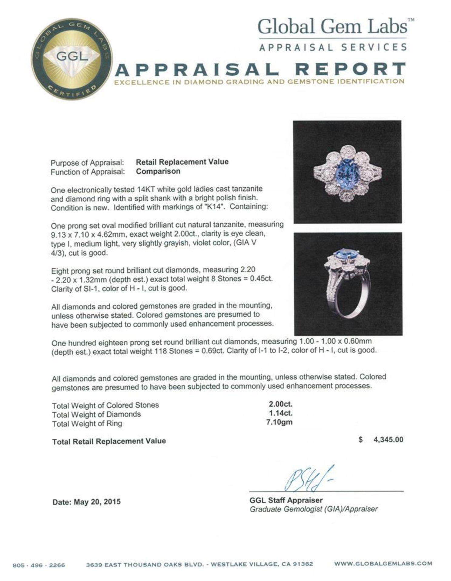 14KT White Gold 2.00 ctw Tanzanite and Diamond Ring - Image 4 of 4