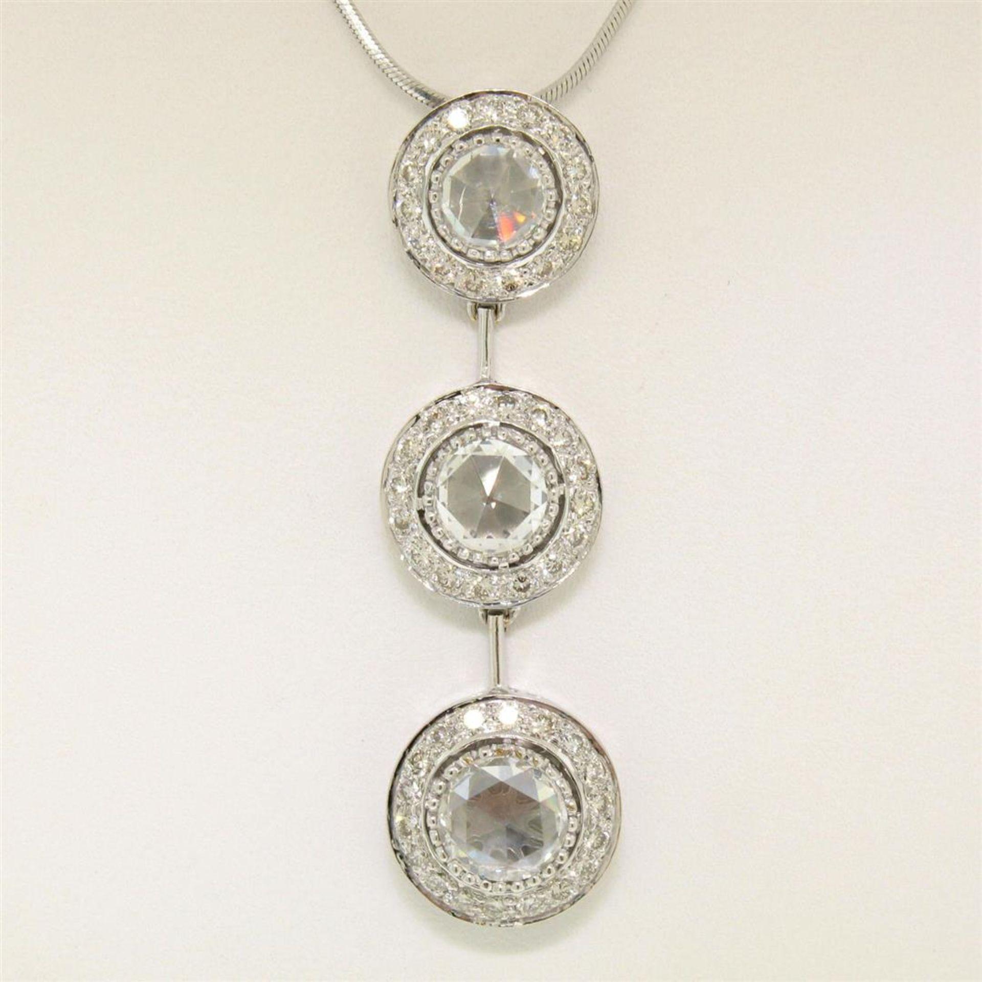 Vintage 18K White Gold 2.59 ctw 3 Rose Cut Diamond Drop Pendant w/ Triple Halo - Image 3 of 9