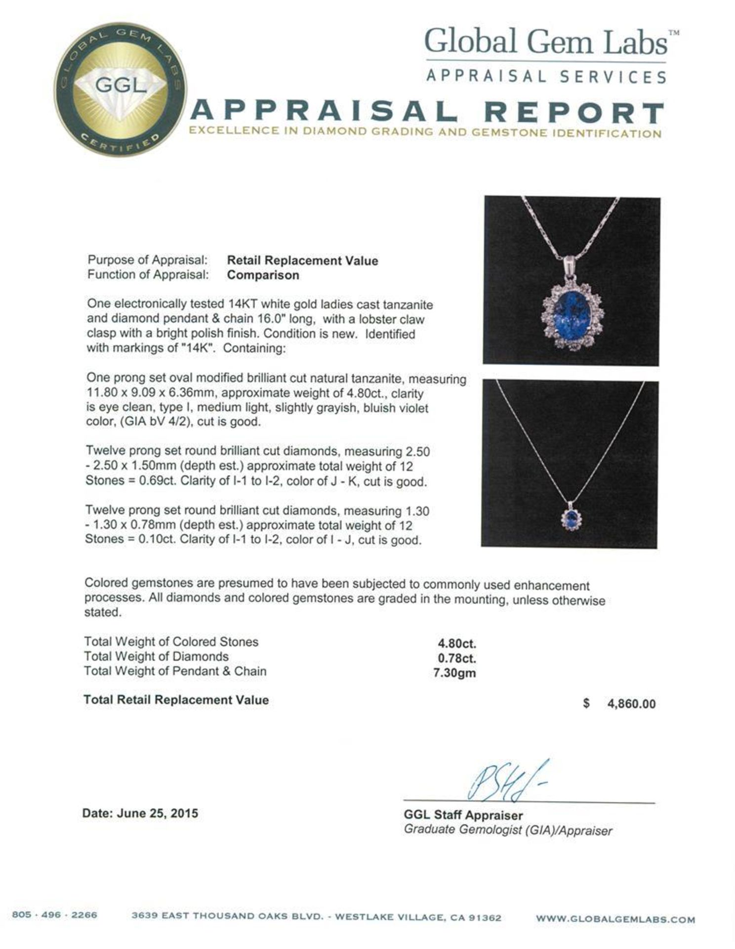 4.80 ctw Tanzanite and Diamond Pendant With Chain - 14KT White Gold - Image 3 of 3