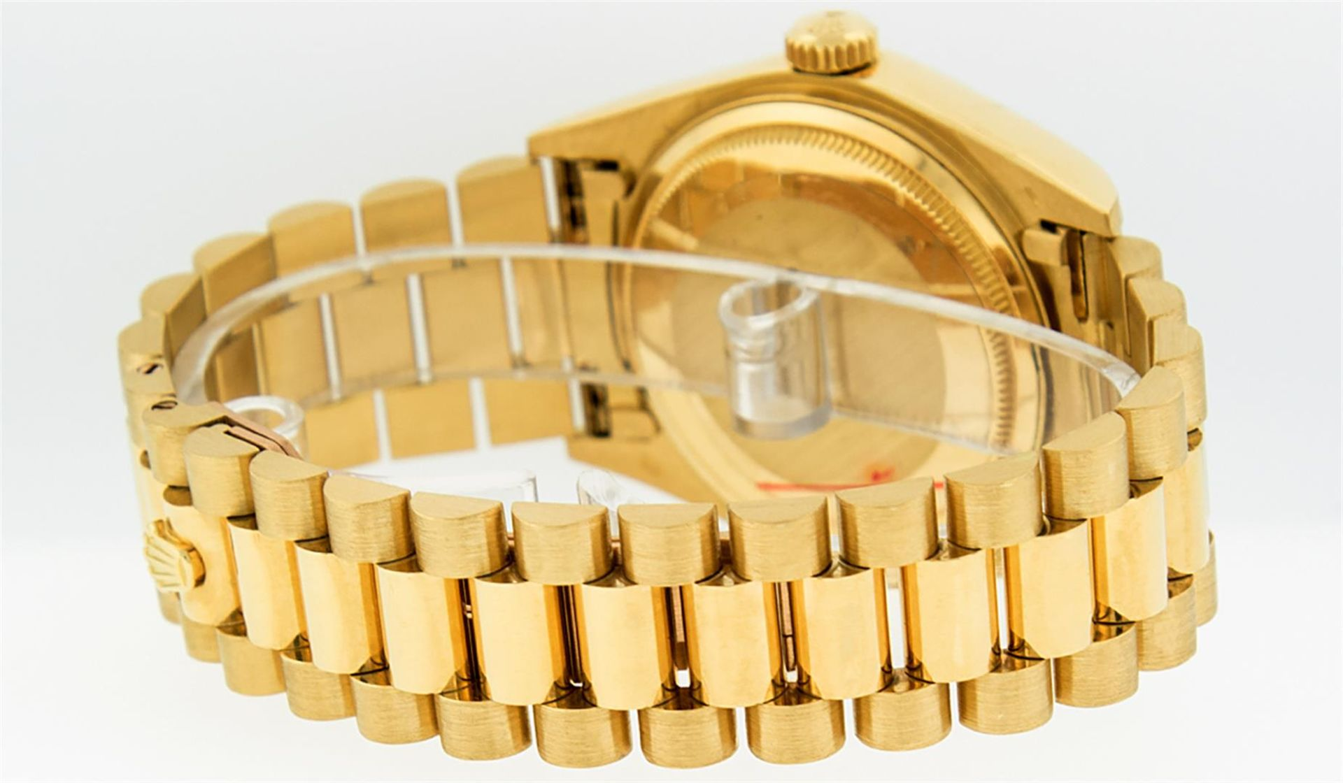 Rolex Mens 18K Yellow Gold Blue Vignette Diamond Quickset President Wristwatch W - Image 4 of 9