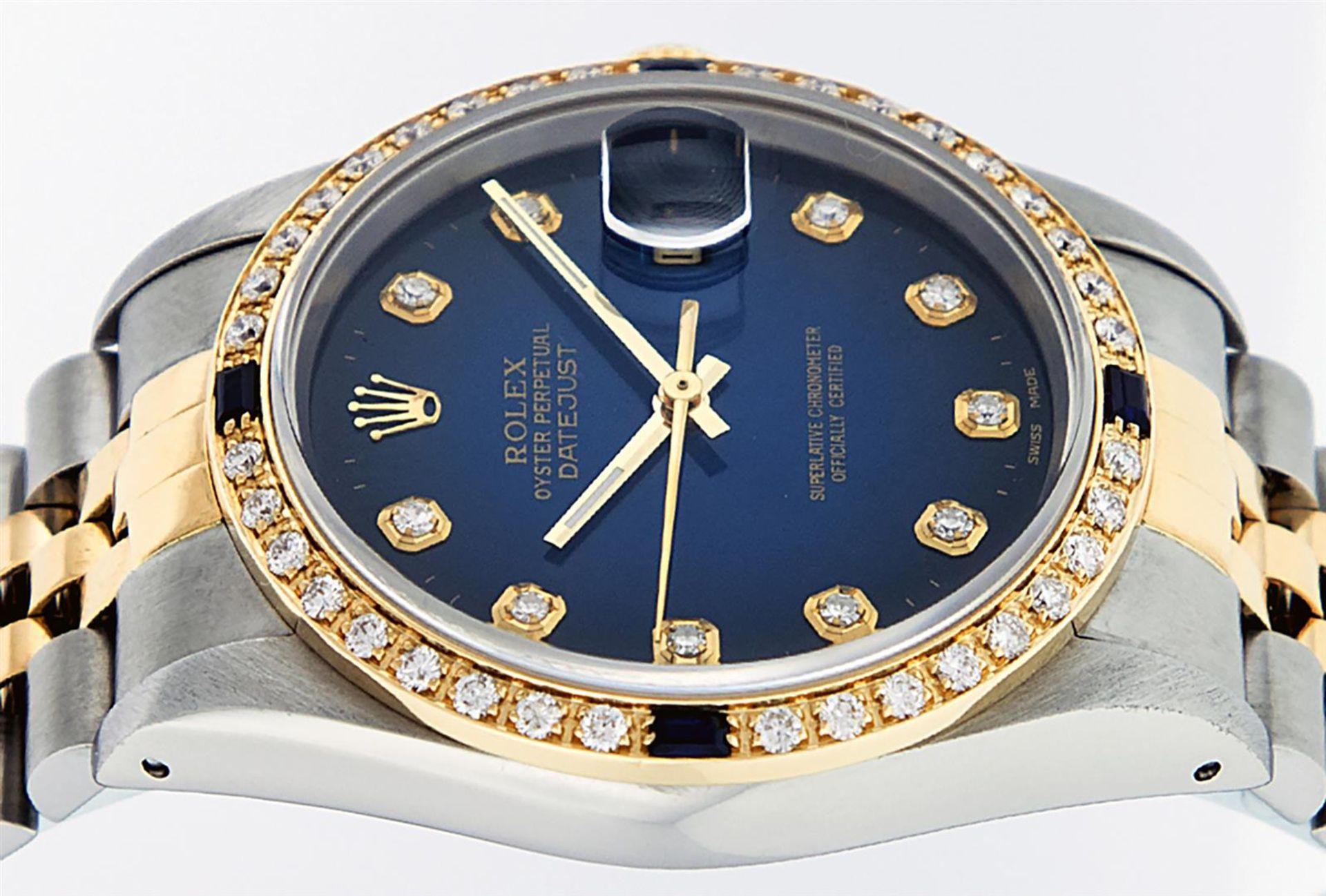 Rolex Mens 2 Tone Blue Vignette Diamond & Sapphire Datejust Wristwatch - Image 3 of 9