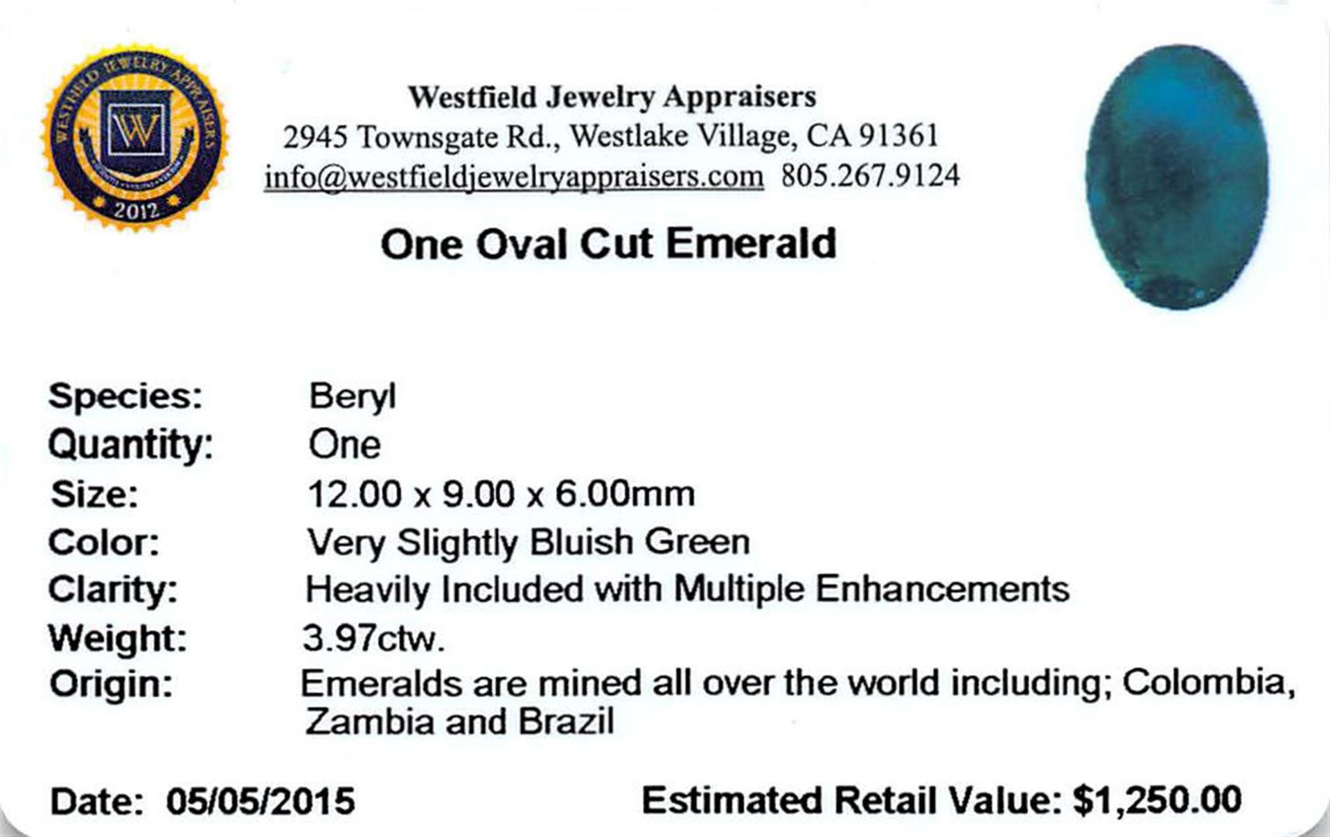 3.97 ctw Oval Emerald Parcel - Image 2 of 2
