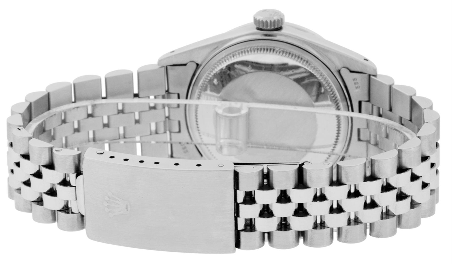 Rolex Mens Stainless Steel Black Diamond Lugs & Sapphire Datejust Wristwatch Oys - Image 6 of 9